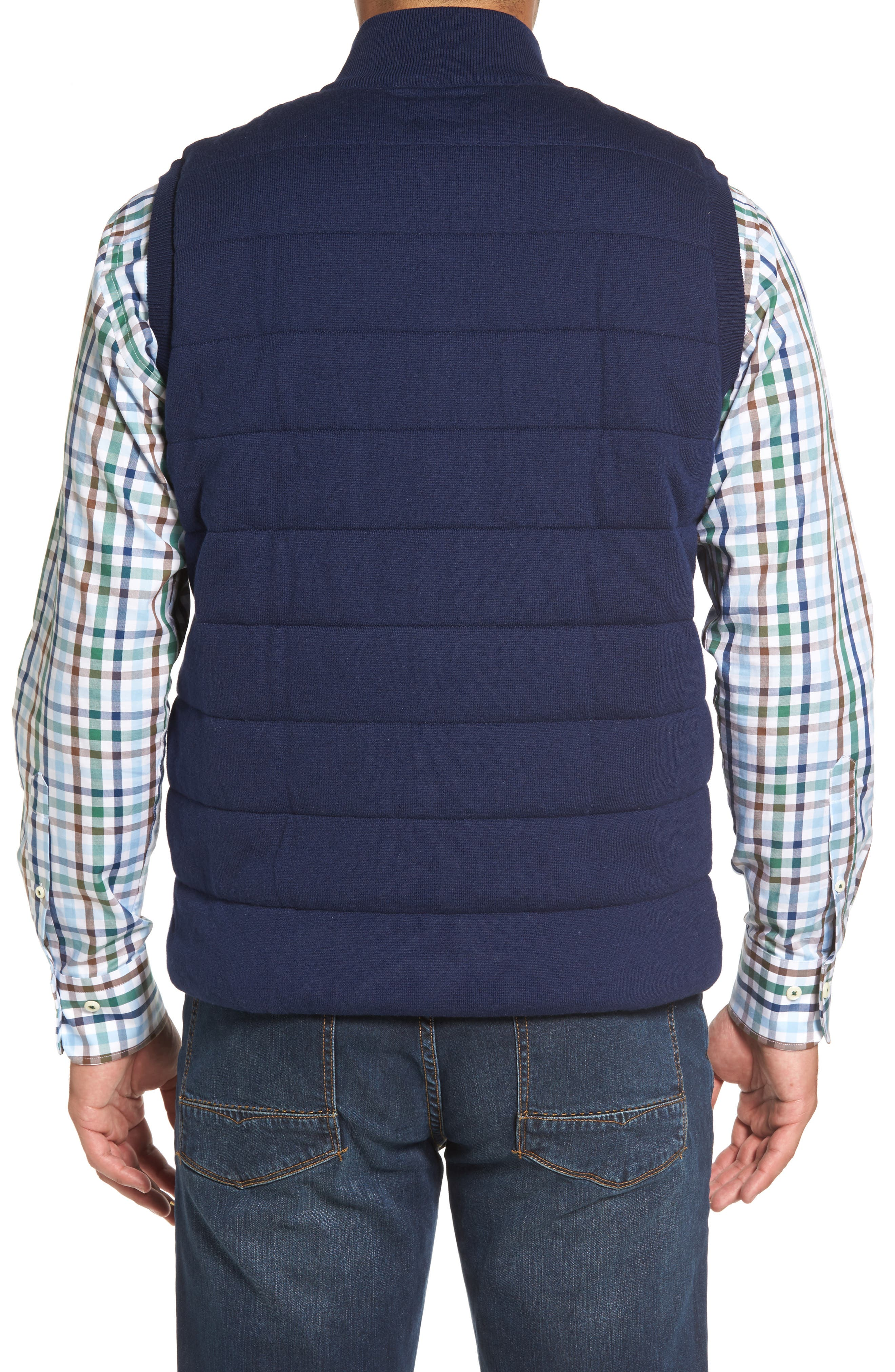 Quilted Wool & Cotton Full Zip Vest,                             Alternate thumbnail 4, color,
