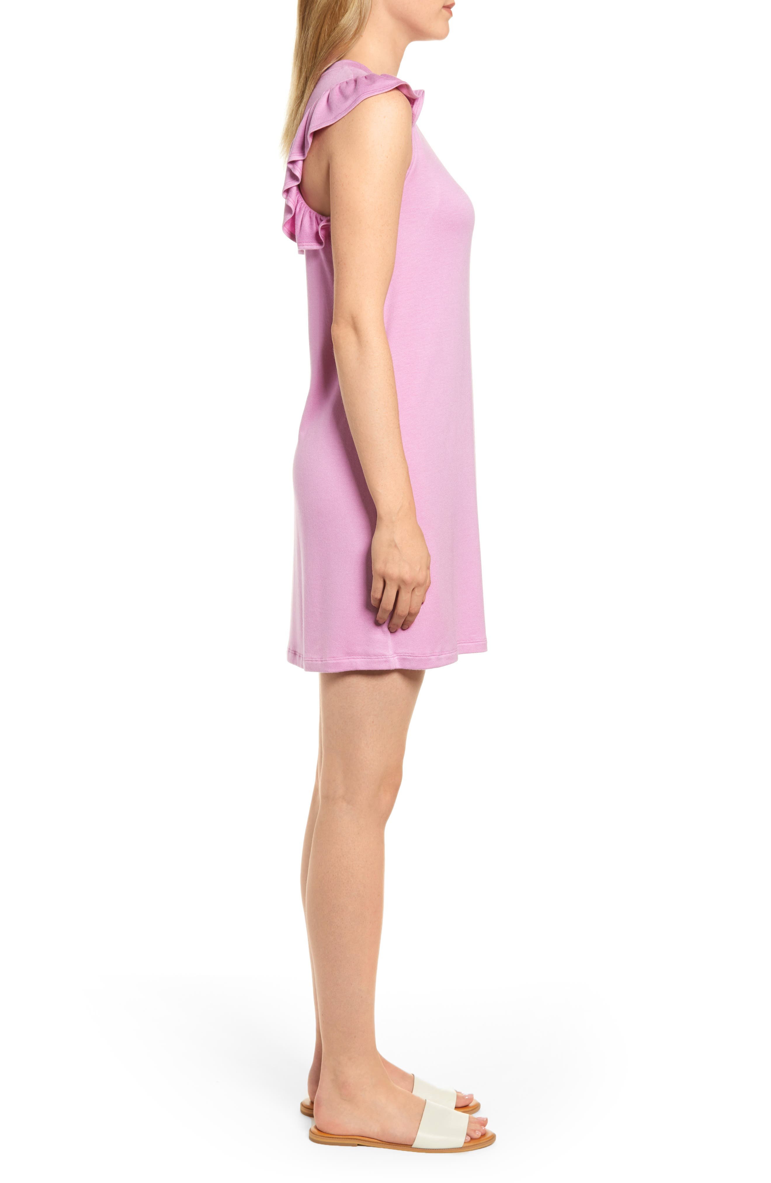 x Hi Sugarplum! Laguna Soft Jersey Ruffle Back T-Shirt Dress,                             Alternate thumbnail 3, color,                             PEONY