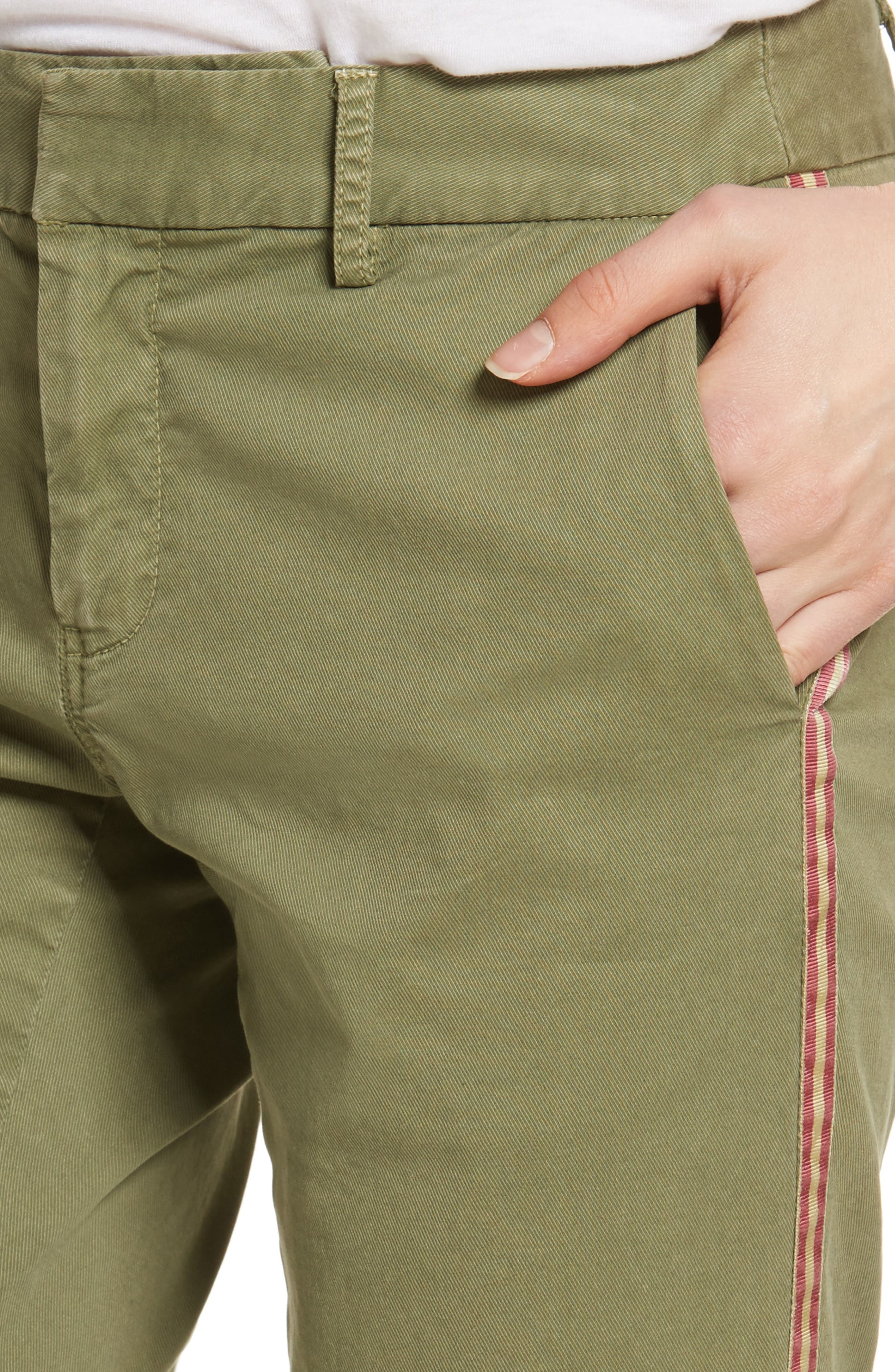 East Hampton Stretch Cotton Twill Crop Pants,                             Alternate thumbnail 4, color,                             ARMY GREEN