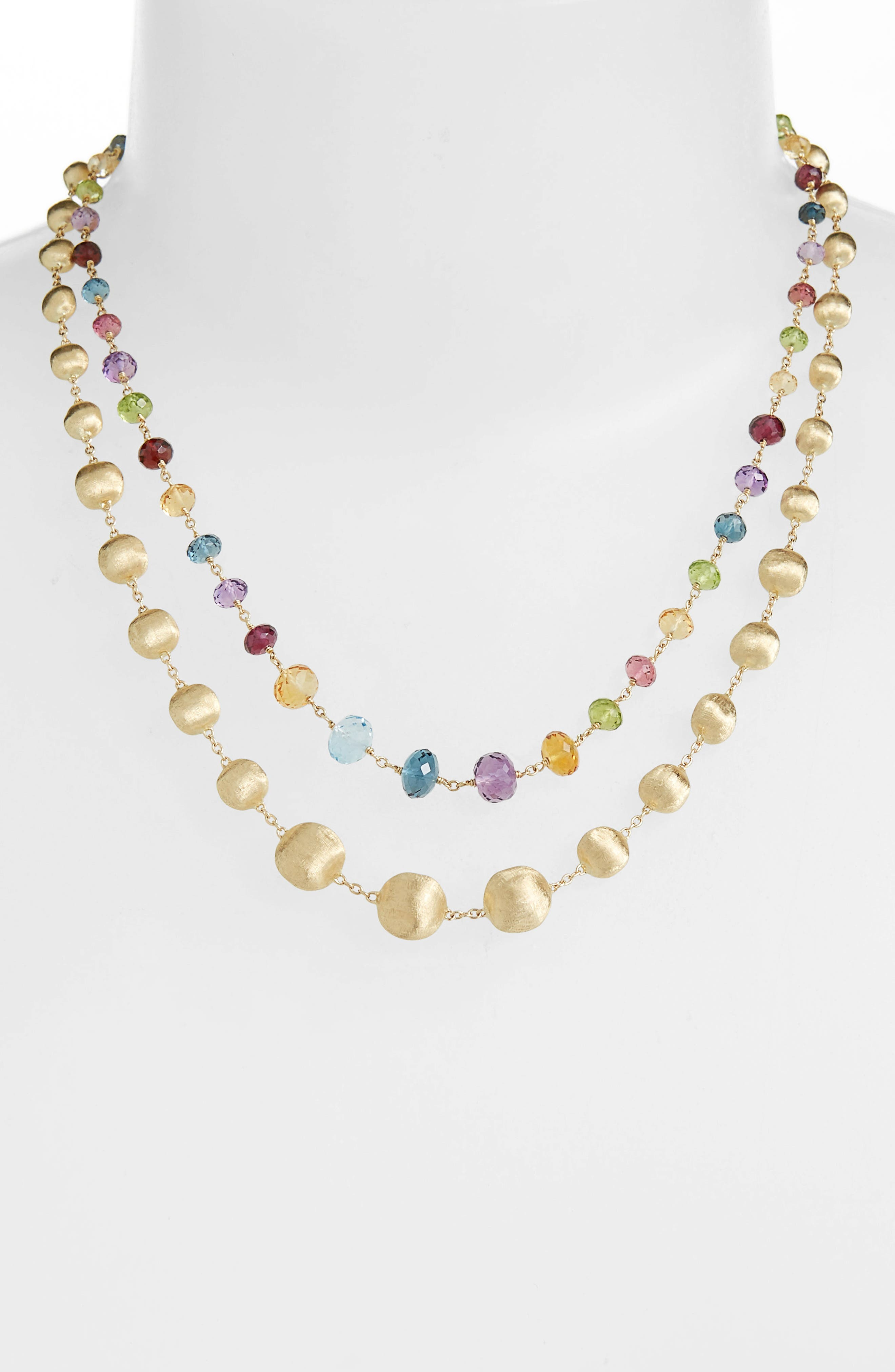 Africa Semiprecious Stone Long Strand Necklace,                             Alternate thumbnail 2, color,                             YELLOW GOLD