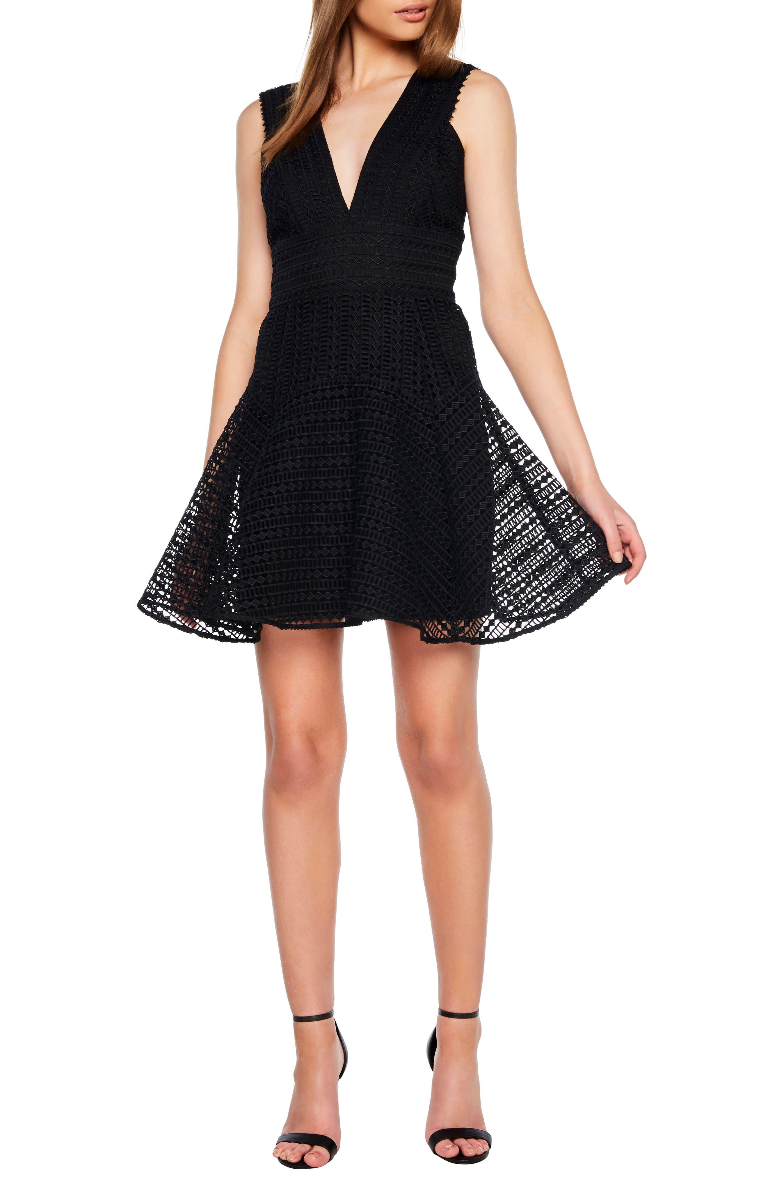 Bardot Lacey Party Dress, Black