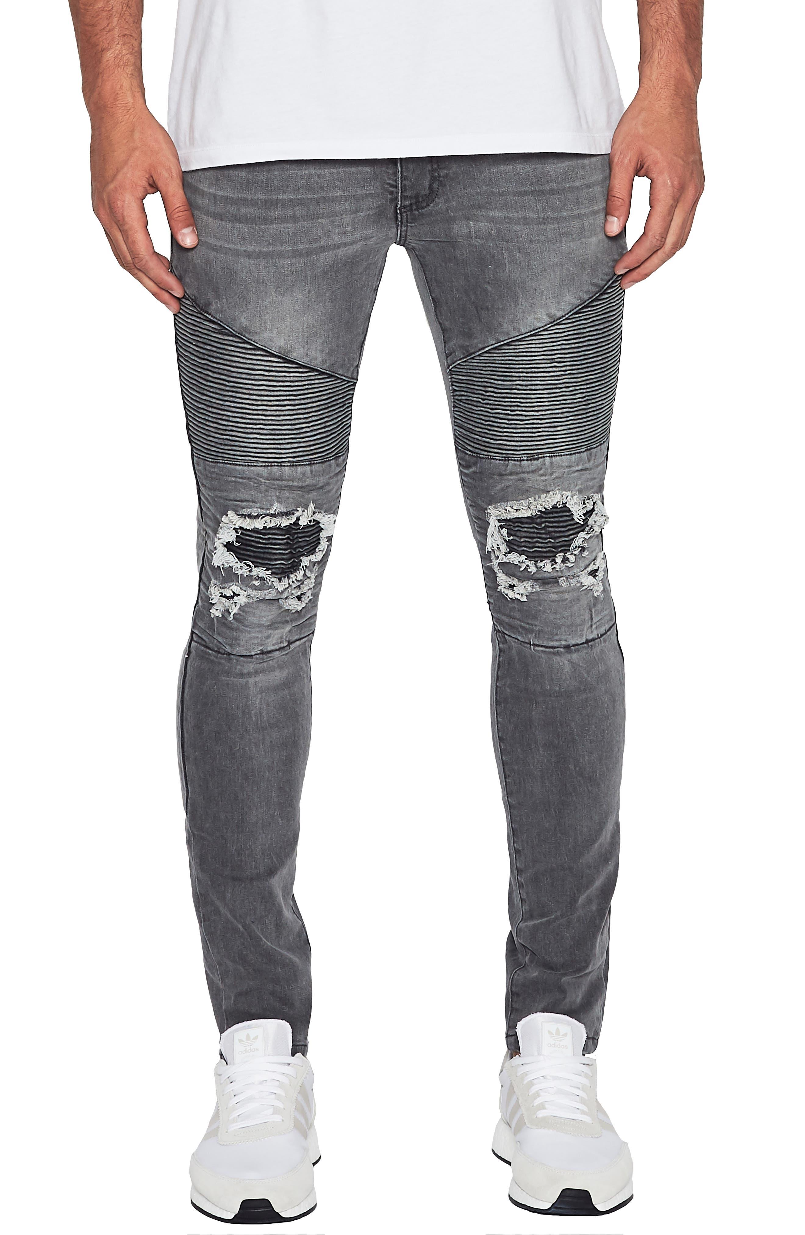 Combination Moto Skinny Moto Jeans,                             Main thumbnail 1, color,                             GREY TRASH