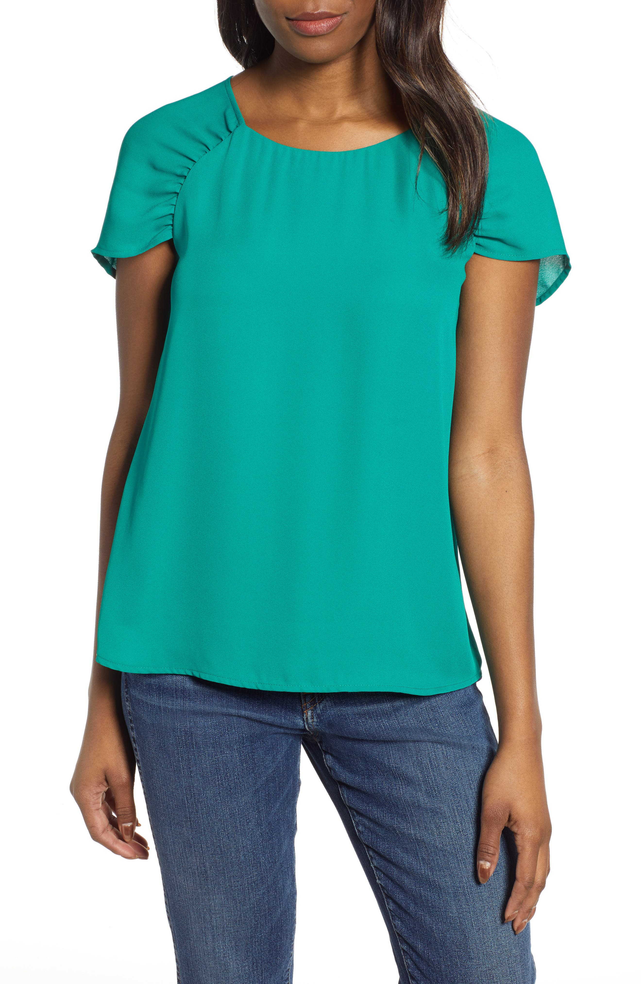 GIBSON,                             x International Women's Day Erin Ruched Sleeve Blouse,                             Main thumbnail 1, color,                             GREEN