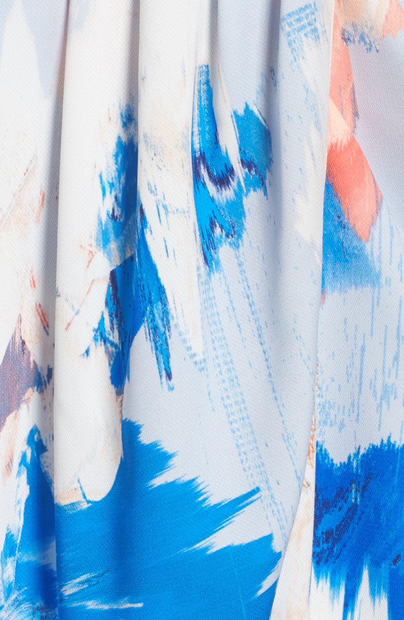 Print Faux Wrap Dress,                             Alternate thumbnail 7, color,                             BLUE WATERCOLOR FLORAL PRINT