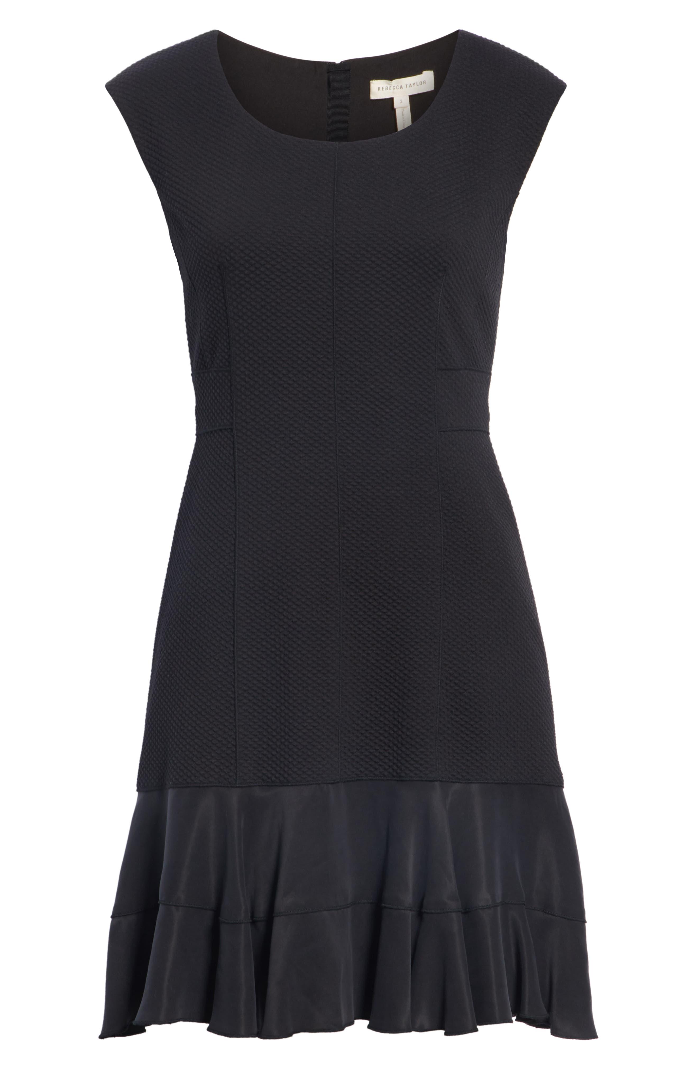 Honeycomb Fit & Flare Dress,                             Alternate thumbnail 7, color,                             BLACK
