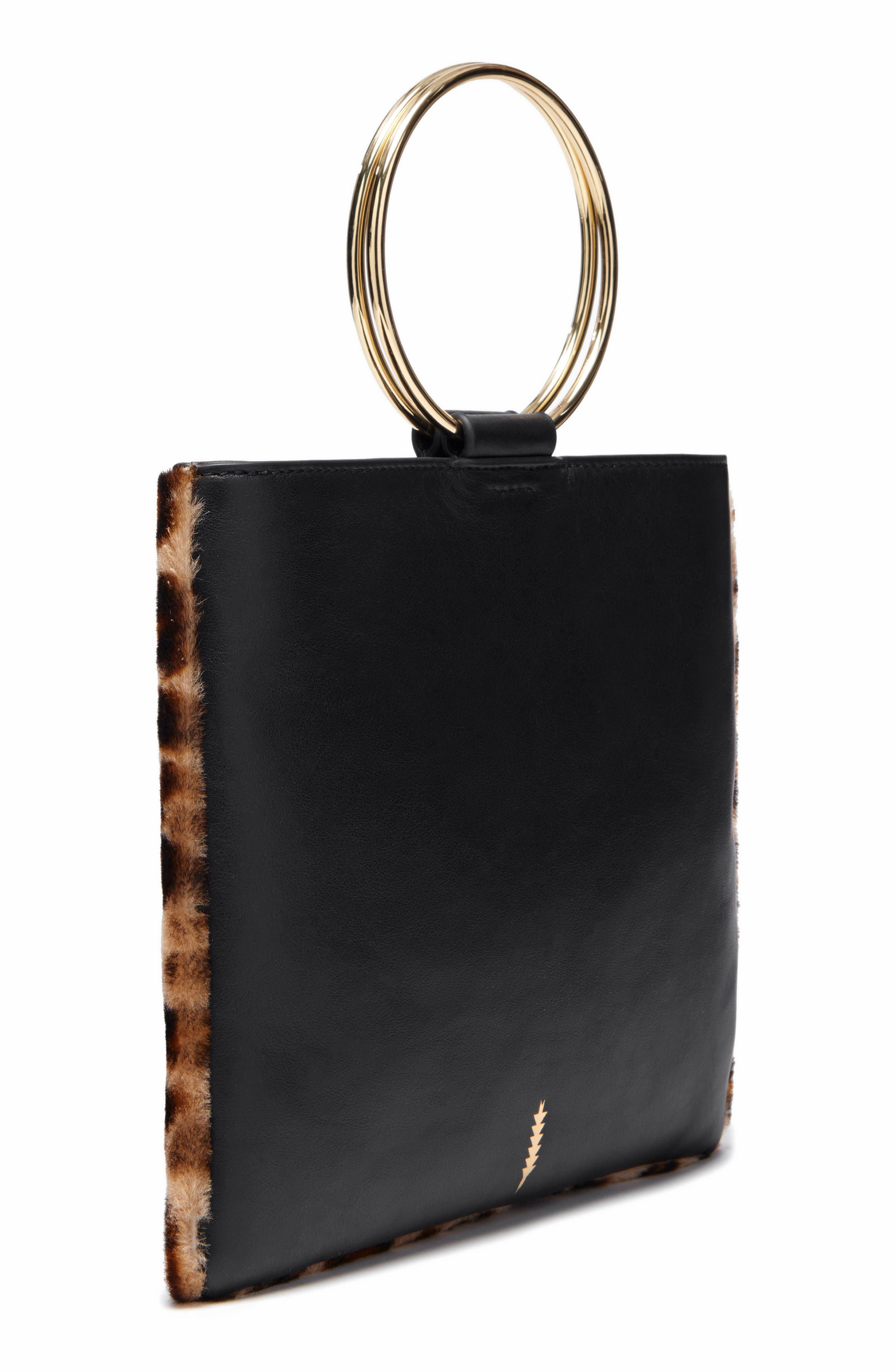 Le Pouch Genuine Shearling Ring Handle Crossbody Bag,                             Alternate thumbnail 3, color,                             001