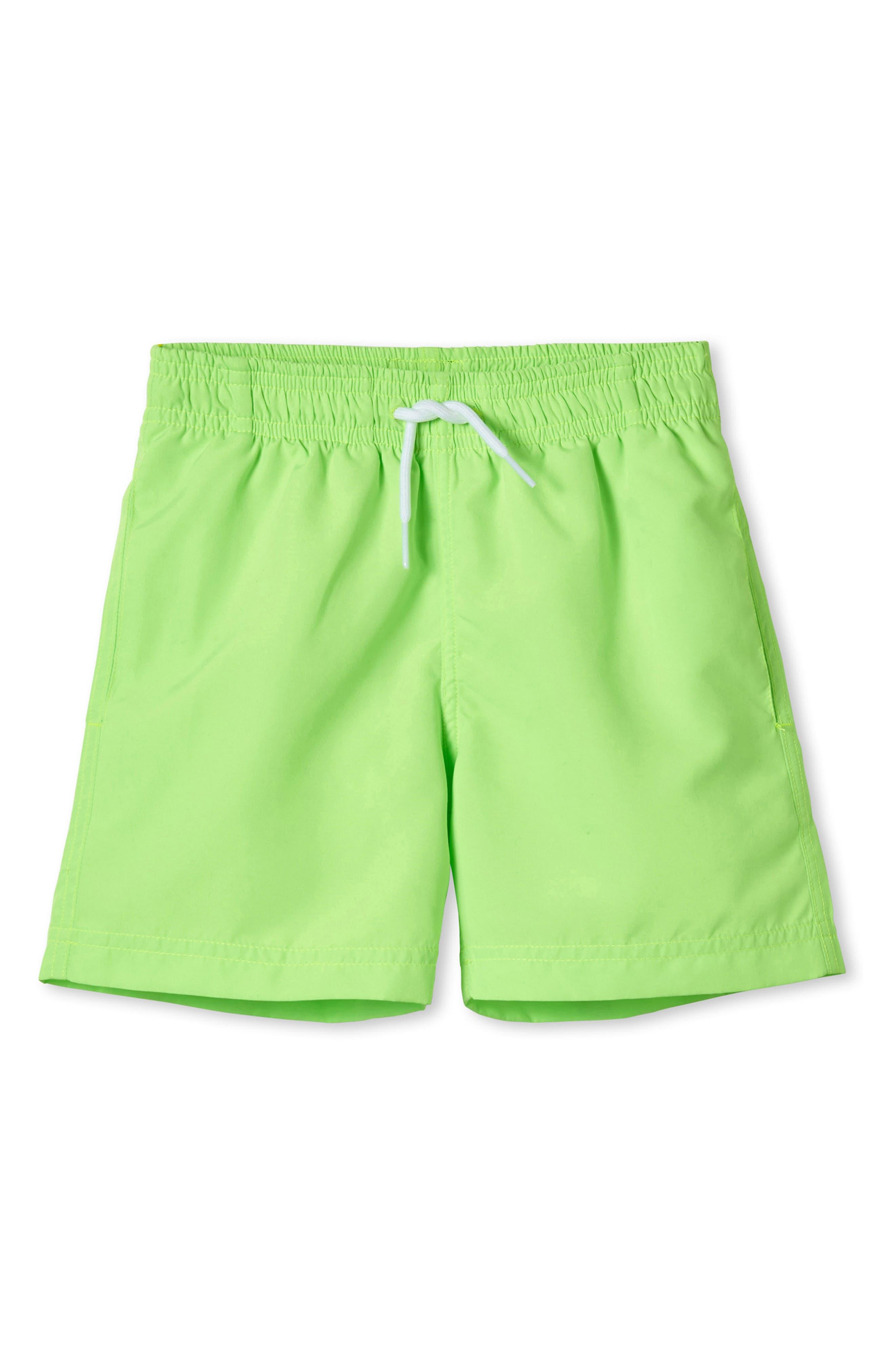 Neon Swim Trunks, Main, color, GREEN