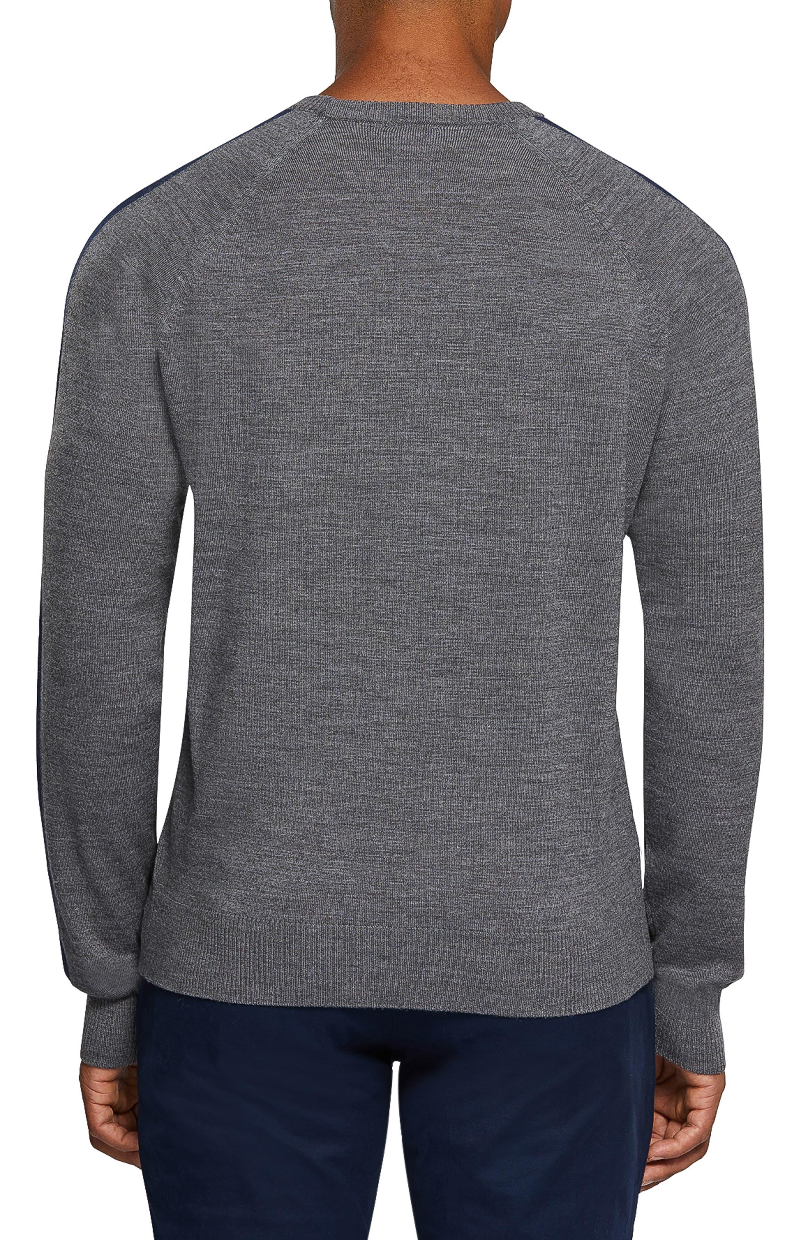 PSYCHO BUNNY,                             Raglan Merino Wool Sweater,                             Alternate thumbnail 2, color,                             HEATHER GREY