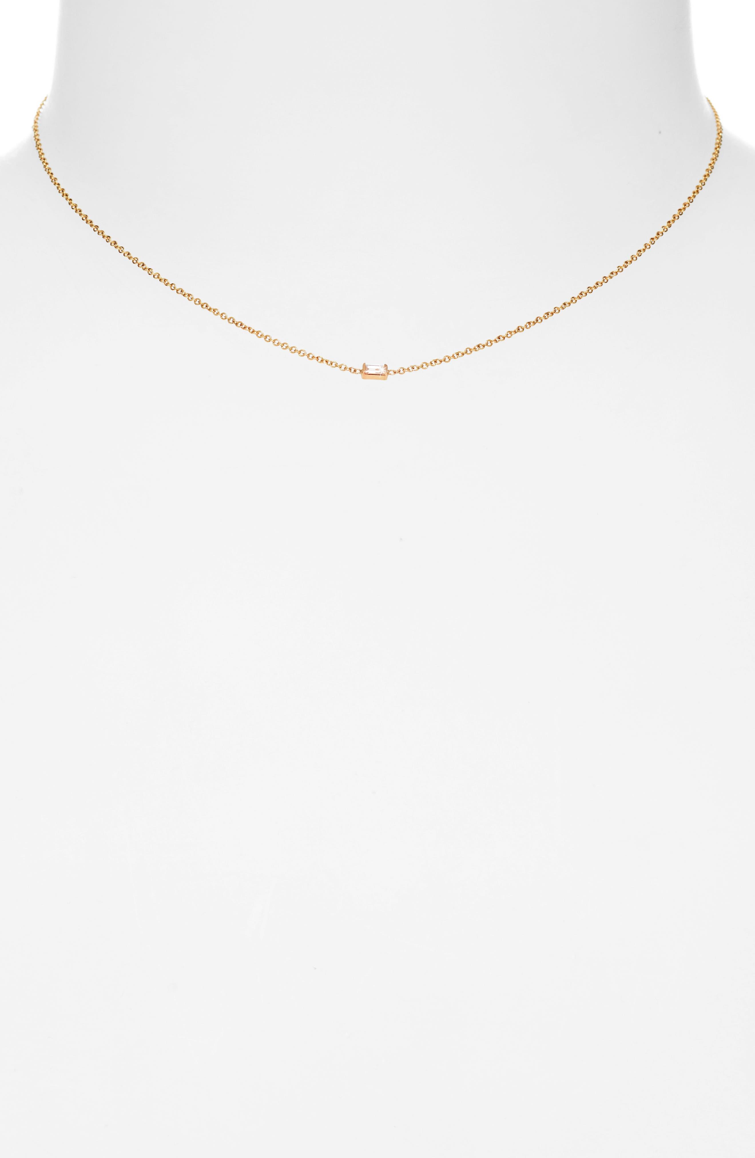 Diamond Baguette Pendant Necklace,                             Alternate thumbnail 2, color,                             YELLOW GOLD