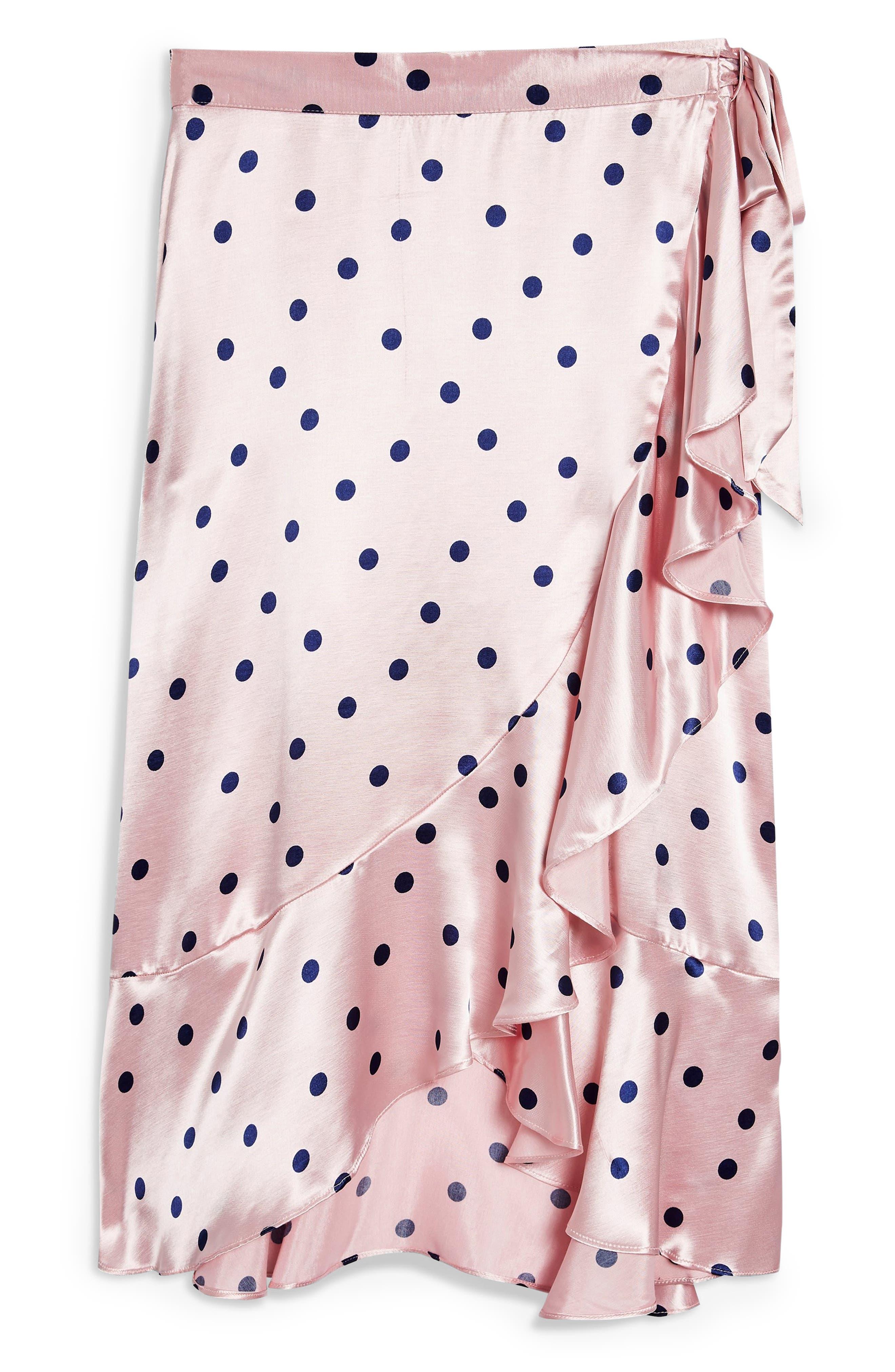Satin Spot Ruffle Skirt,                             Alternate thumbnail 3, color,                             PINK MULTI