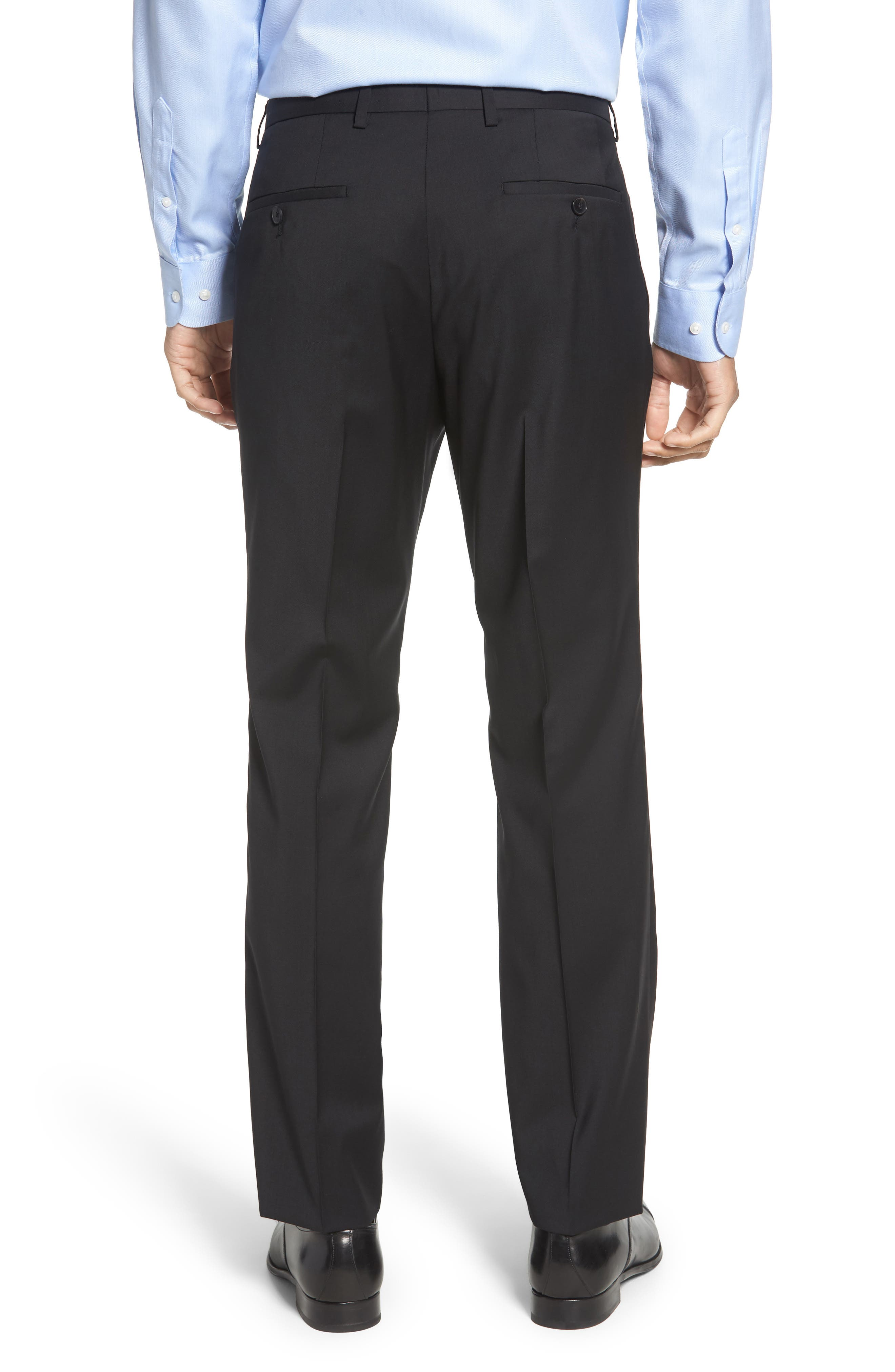 Leenon Flat Front Regular Fit Solid Wool Trousers,                             Alternate thumbnail 2, color,                             BLACK
