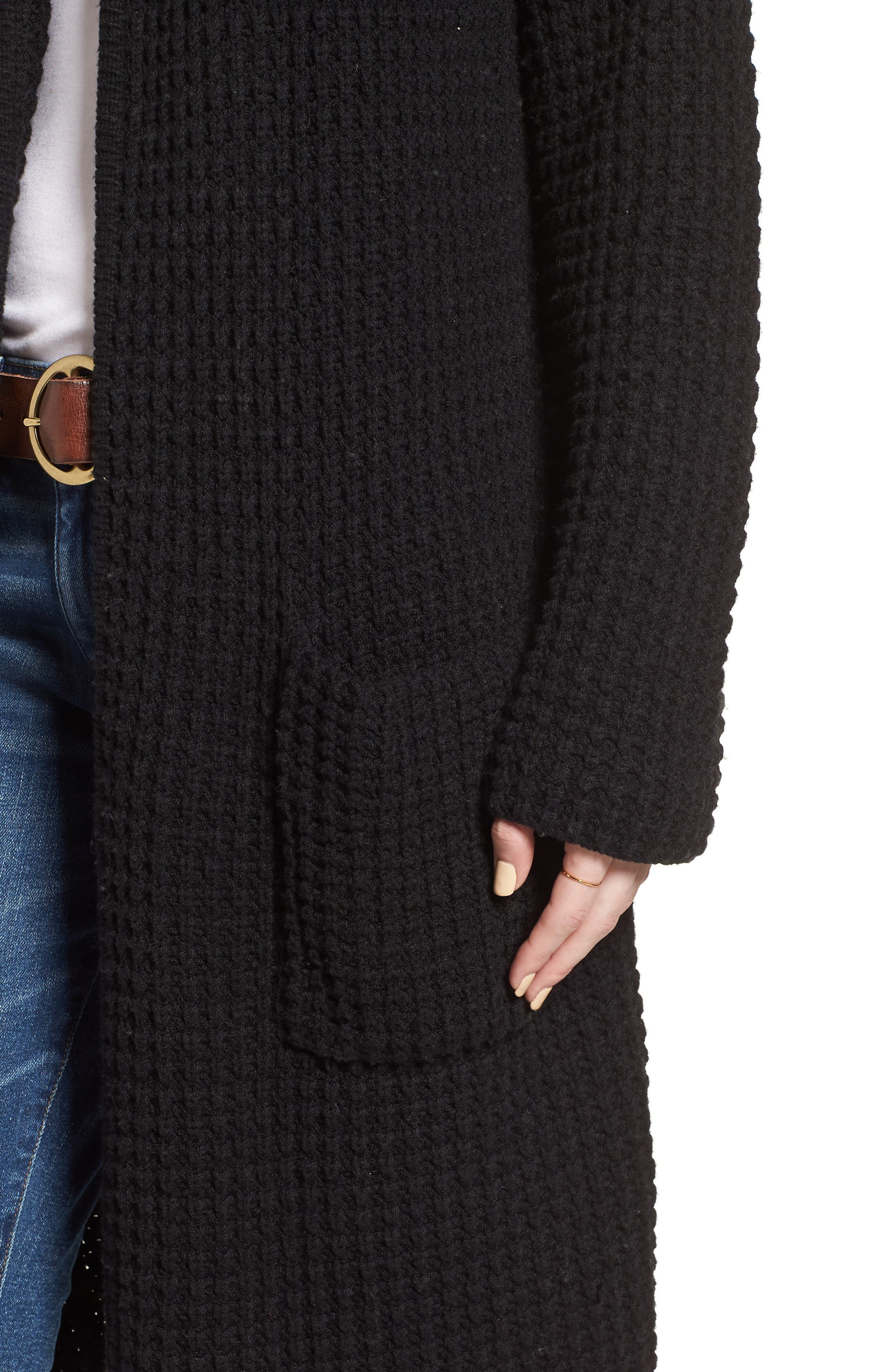 Waffle Stitch Sweater Jacket,                             Alternate thumbnail 4, color,                             001