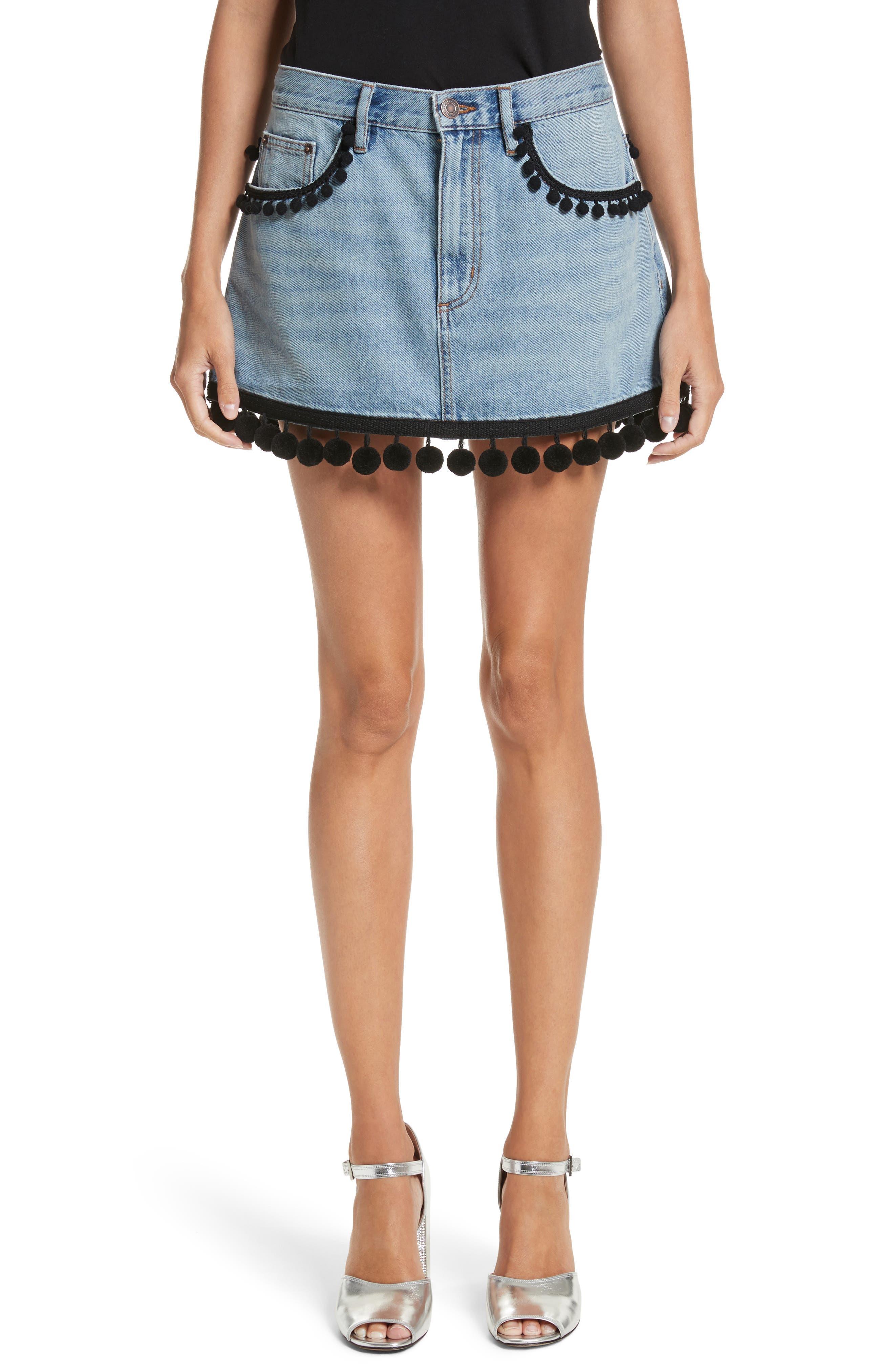 Pompom Trim Denim Miniskirt,                         Main,                         color, 489