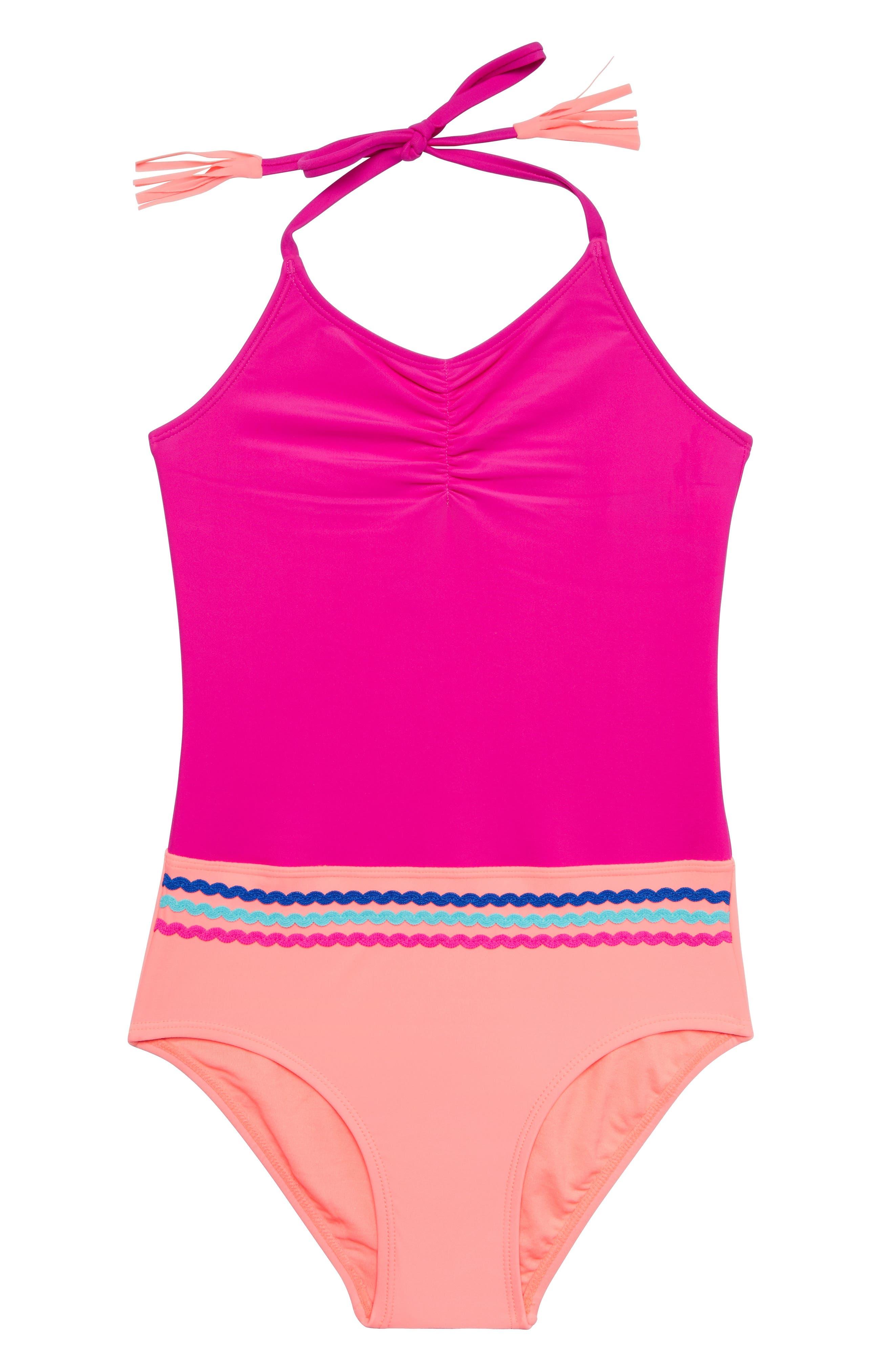 Malibu Stripe One-Piece Swimsuit,                             Main thumbnail 1, color,                             PINK/ MULTI