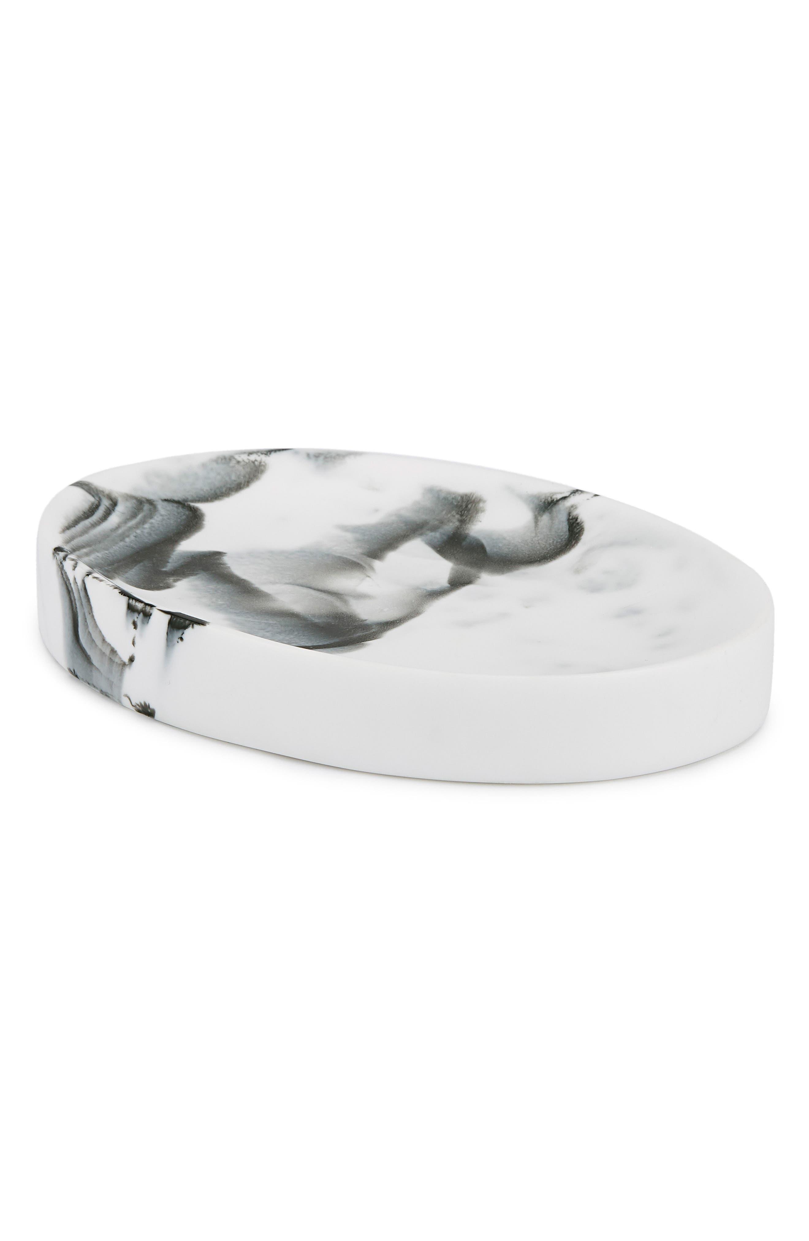 Arabesco Resin Soap Dish,                             Main thumbnail 1, color,                             WHITE/ BLACK