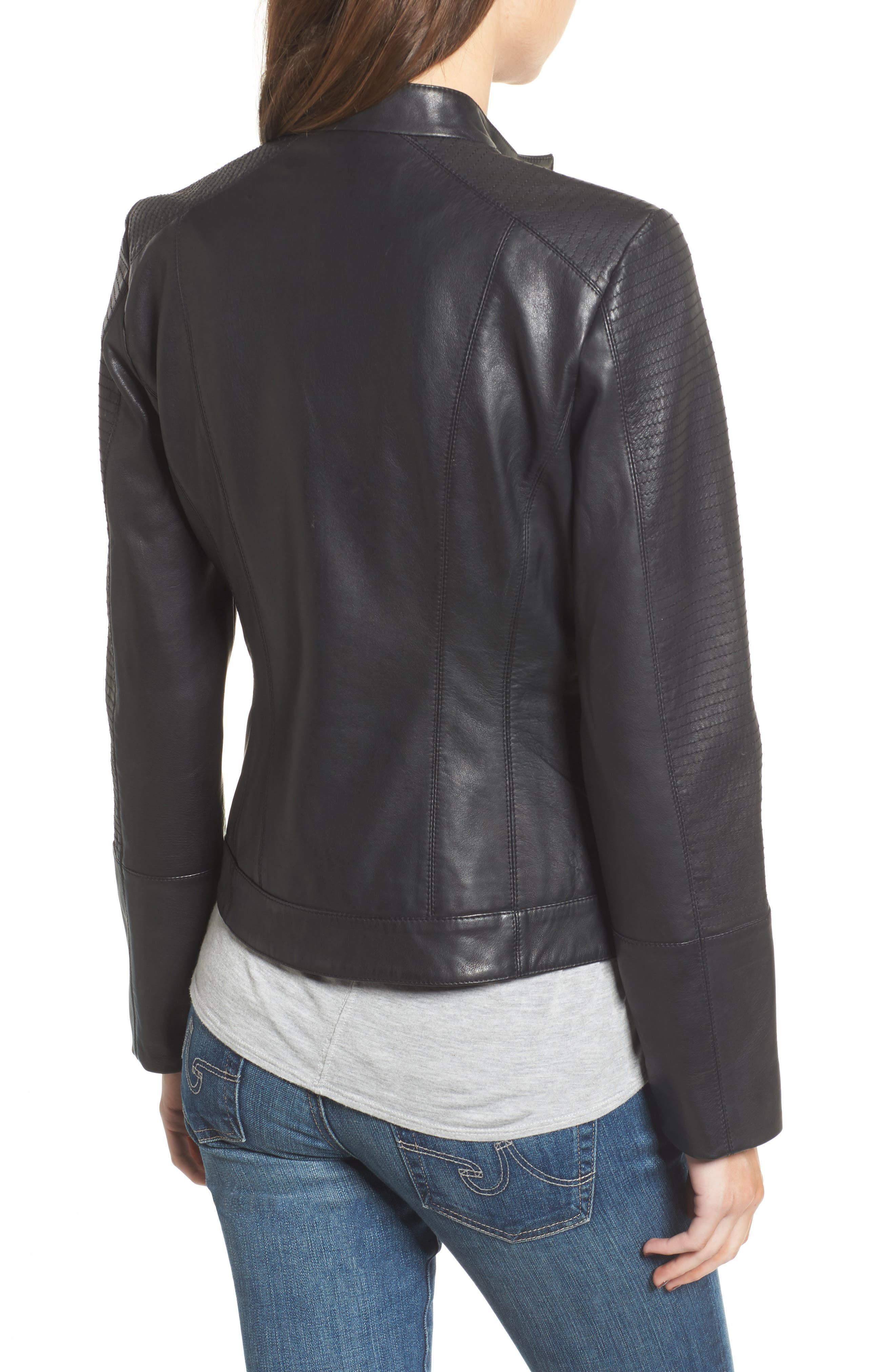 Kirwin Leather Moto Jacket,                             Alternate thumbnail 2, color,                             001