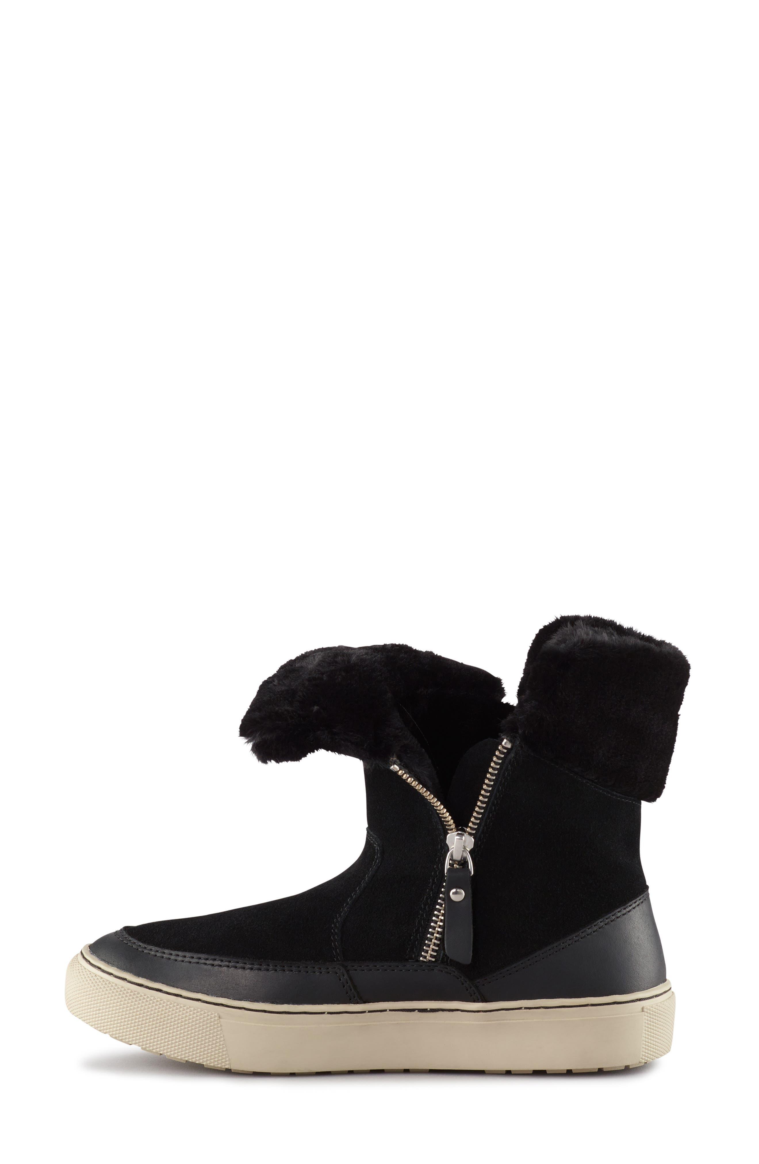 Dresden Waterproof Sneaker Boot with Faux Fur Trim,                             Alternate thumbnail 6, color,                             001