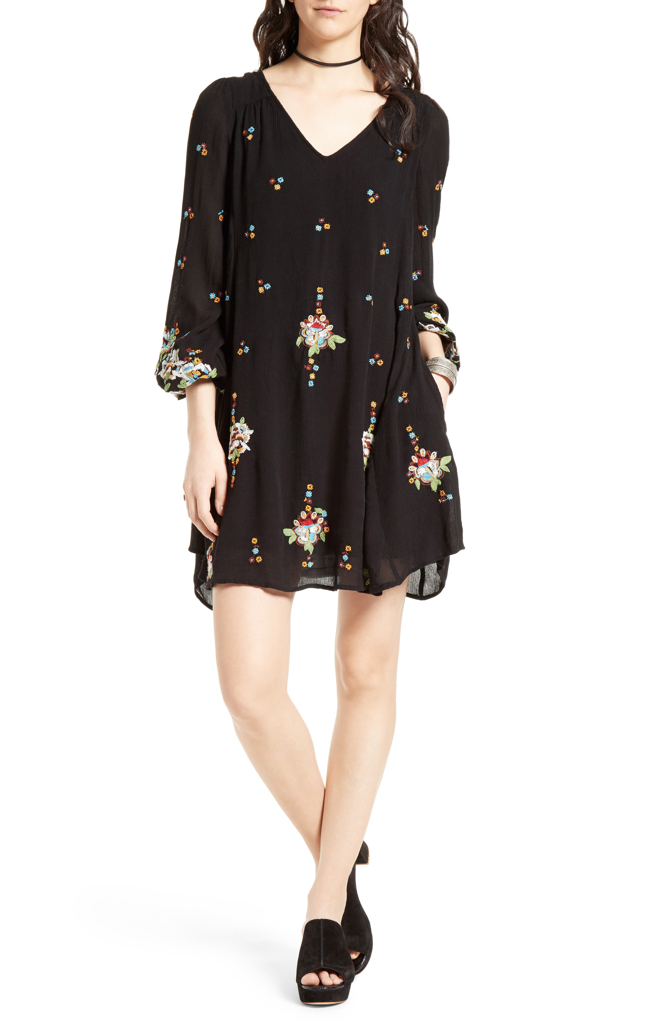 Embroidered Minidress,                         Main,                         color, BLACK COMBO