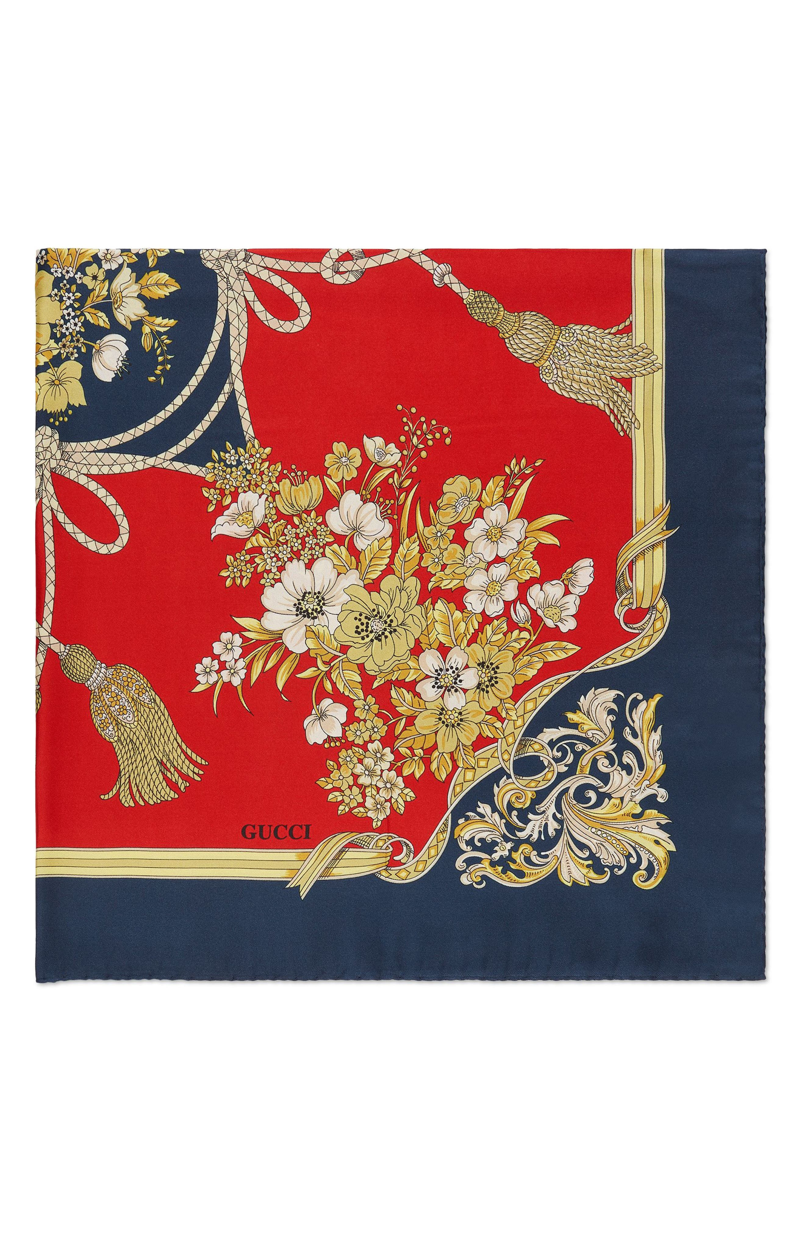 Lady Intrigue Square Silk Scarf,                             Alternate thumbnail 3, color,                             RED/ BLUE