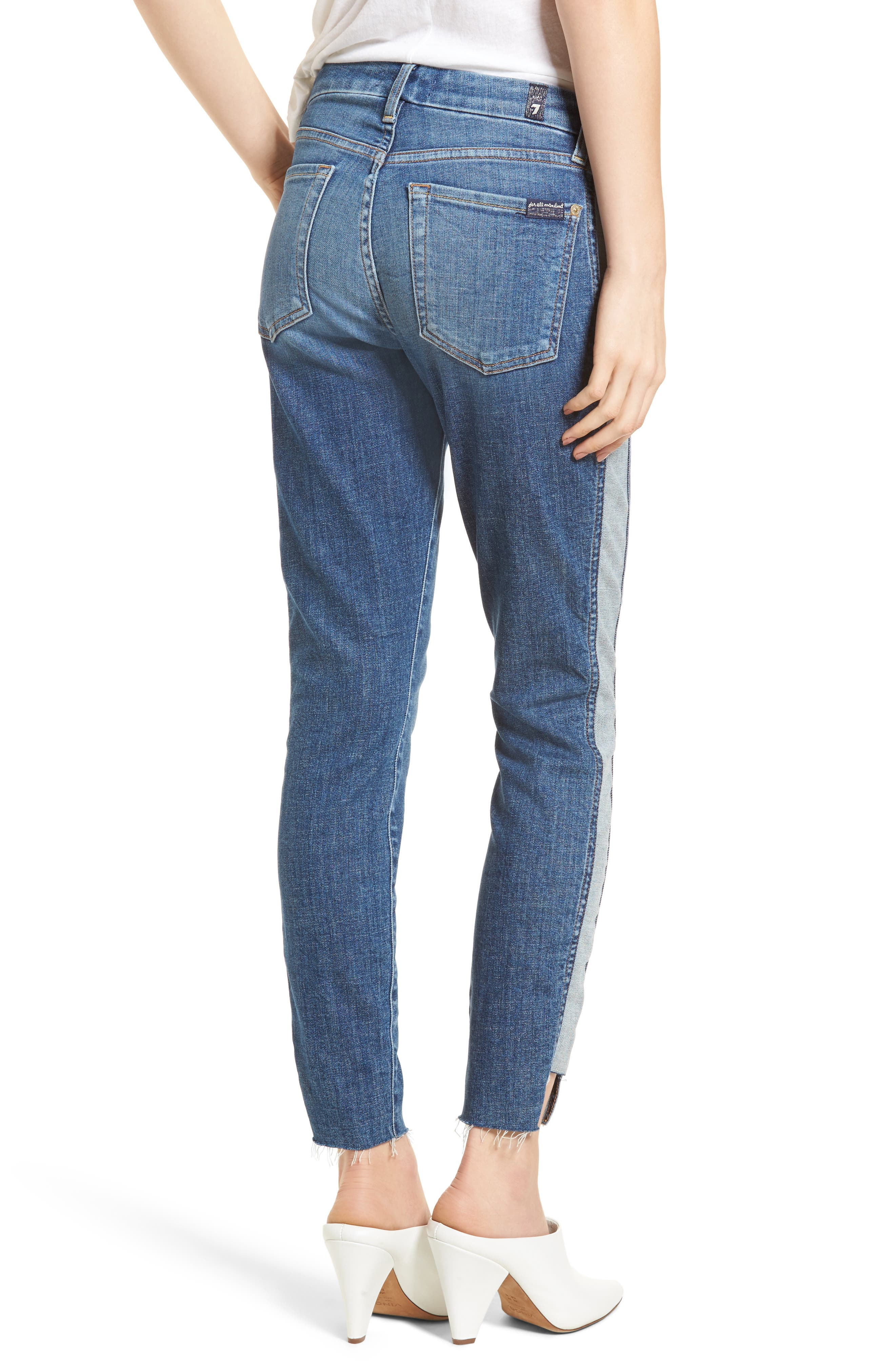 Side Panel Inset Ankle Skinny Jeans,                             Alternate thumbnail 2, color,                             400