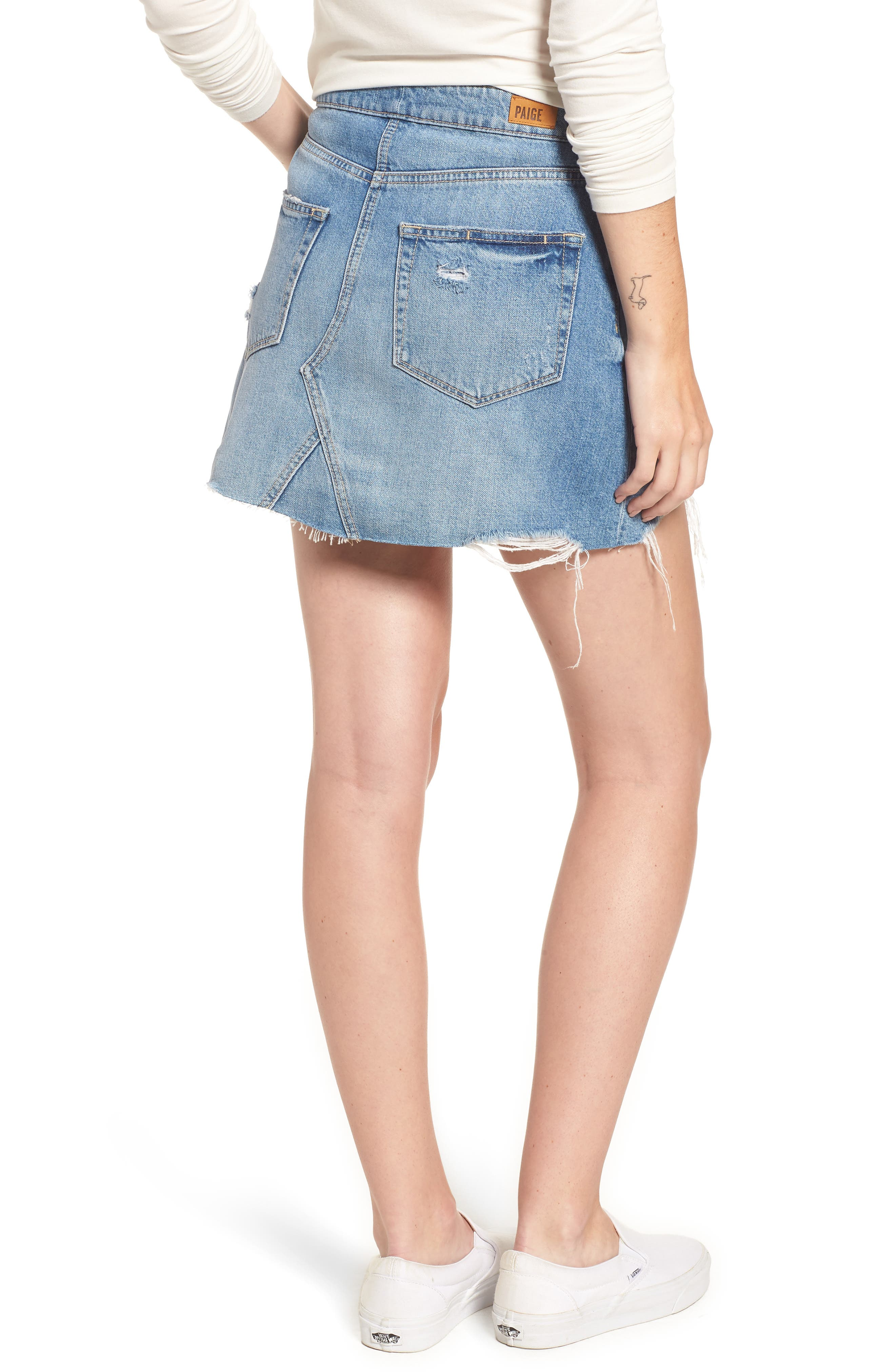 Alethea High Waist Denim Skirt,                             Alternate thumbnail 2, color,