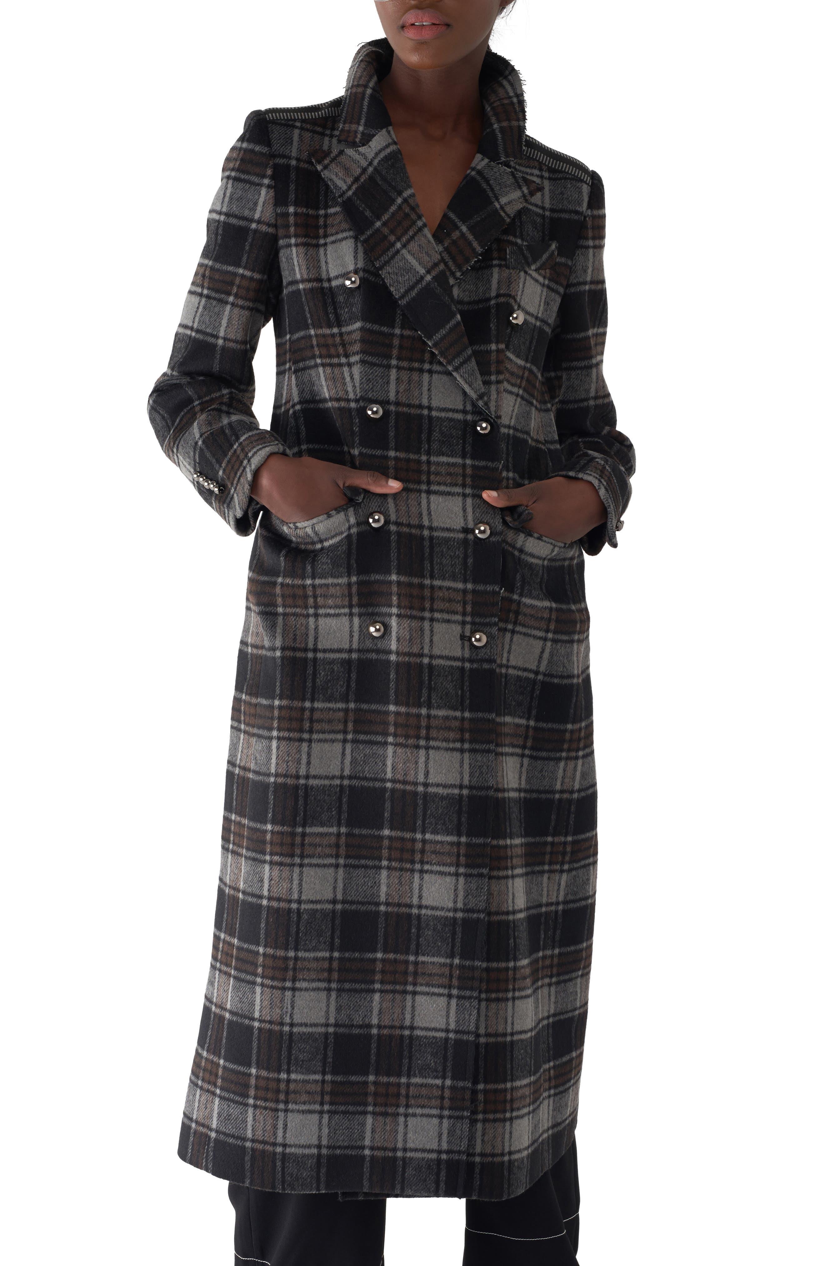Gin Twill Check Long Coat, Main, color, BROWN/ BLACK