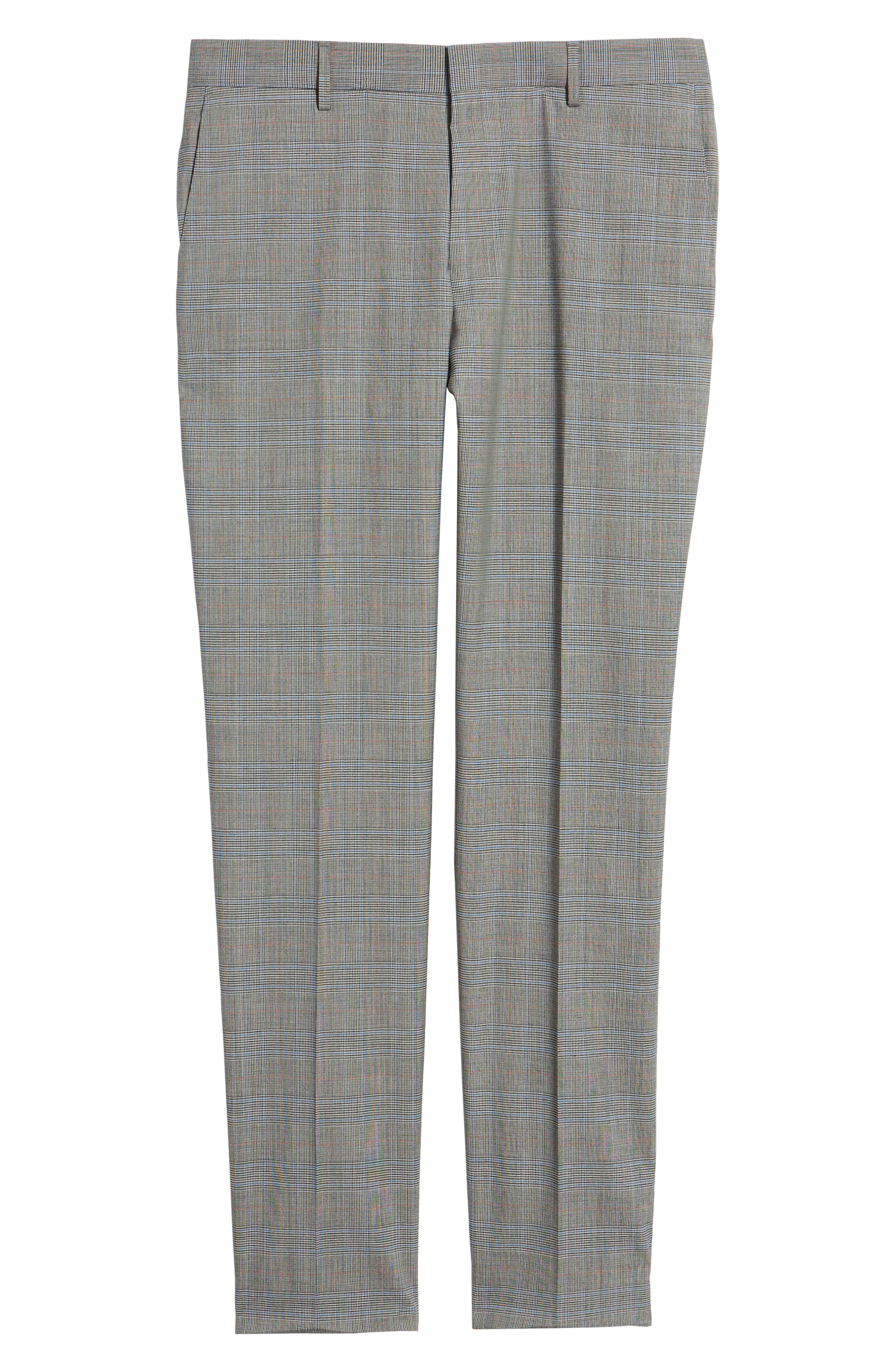 Benso Flat Front Plaid Wool Blend Trousers,                             Alternate thumbnail 6, color,                             061