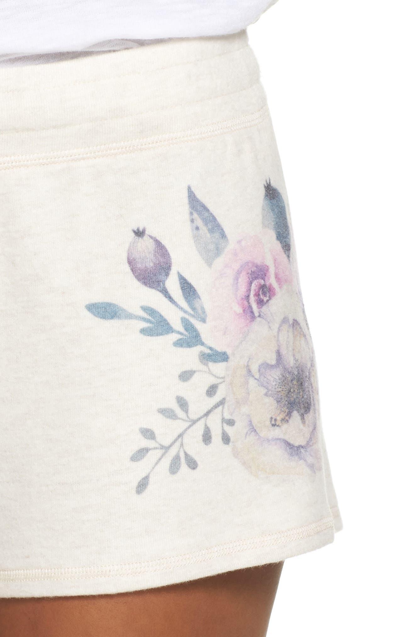 Peachy Floral Pajama Shorts,                             Alternate thumbnail 4, color,                             900