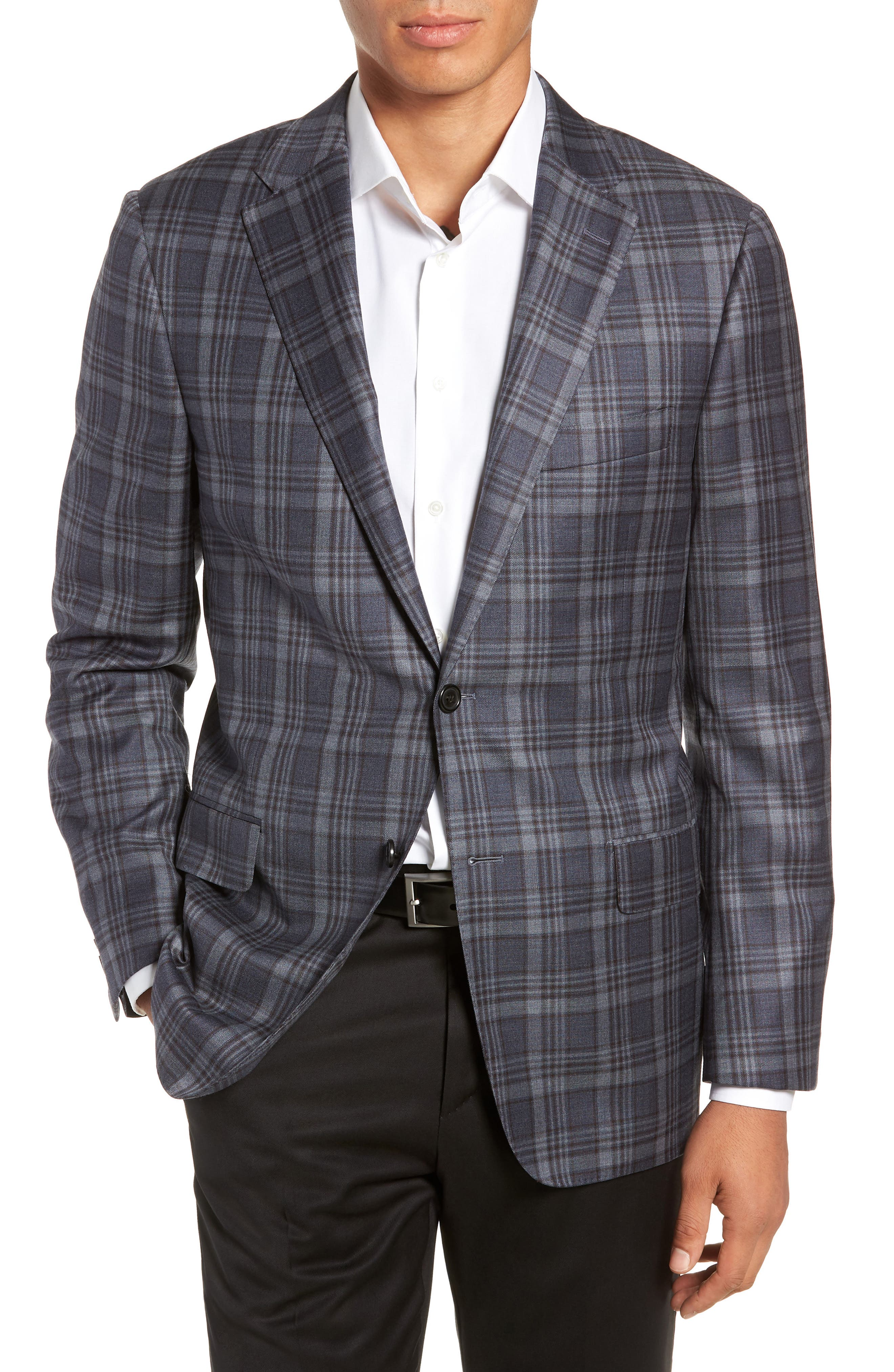HICKEY FREEMAN Classic Fit Plaid Wool Sport Coat in Blue