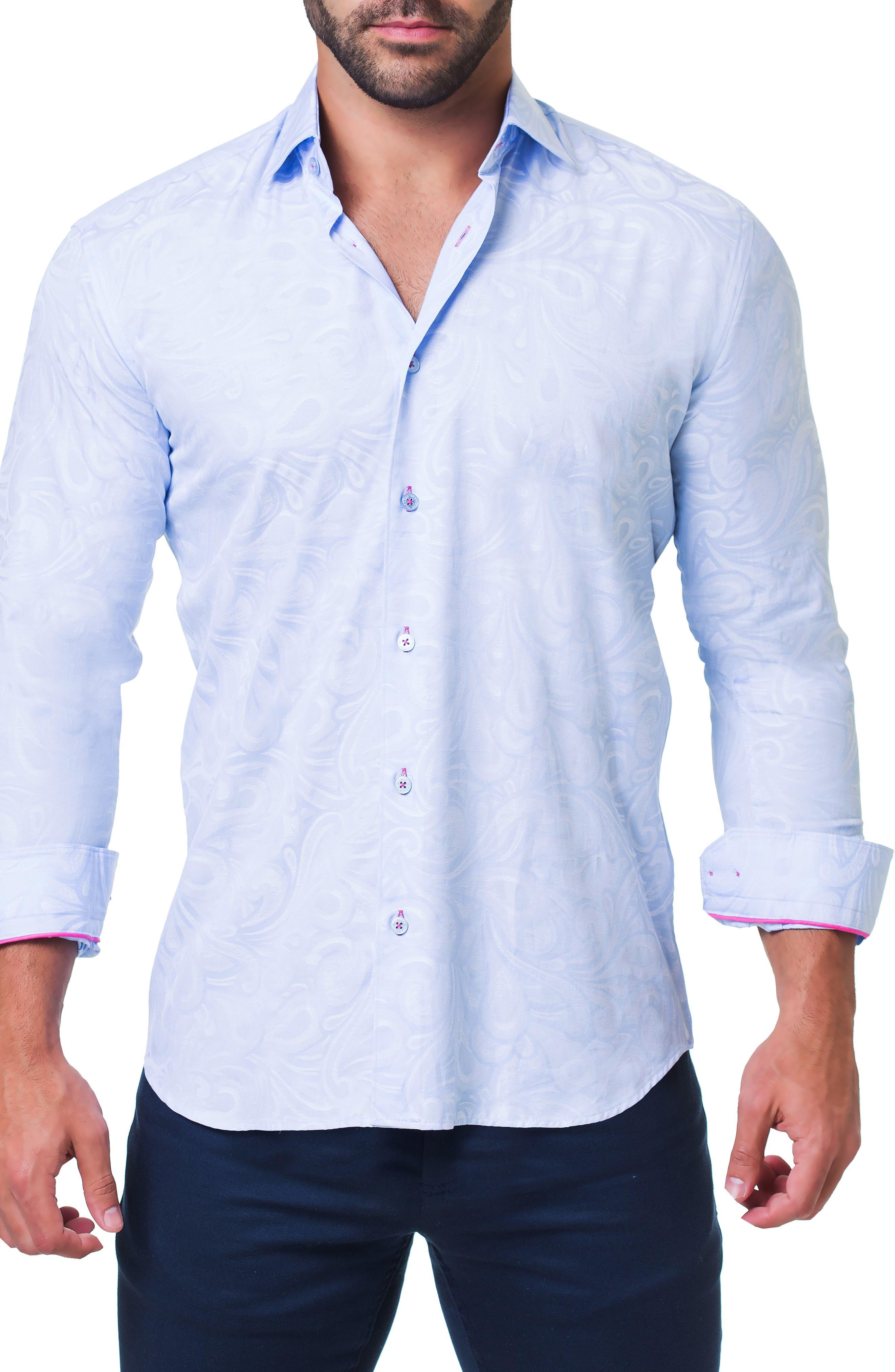 Fibonacci Flow Trim Fit Sport Shirt,                             Alternate thumbnail 4, color,                             BLUE
