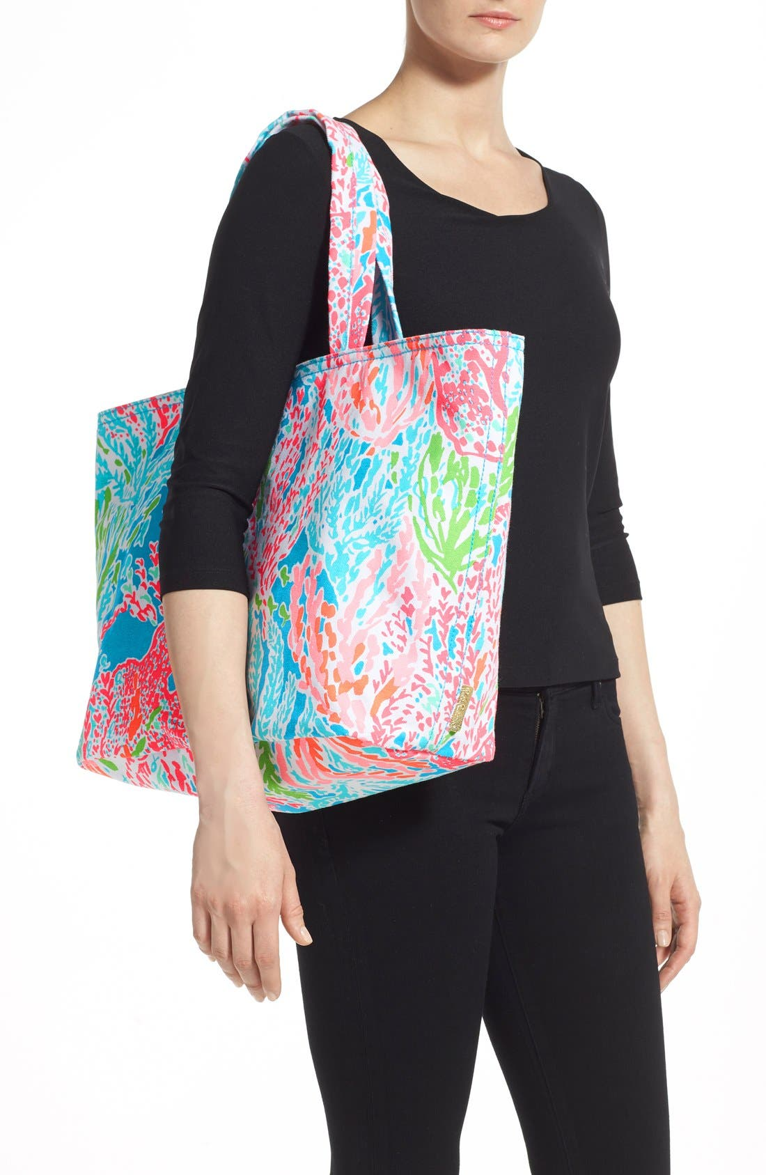 Canvas Beach Tote,                             Alternate thumbnail 5, color,