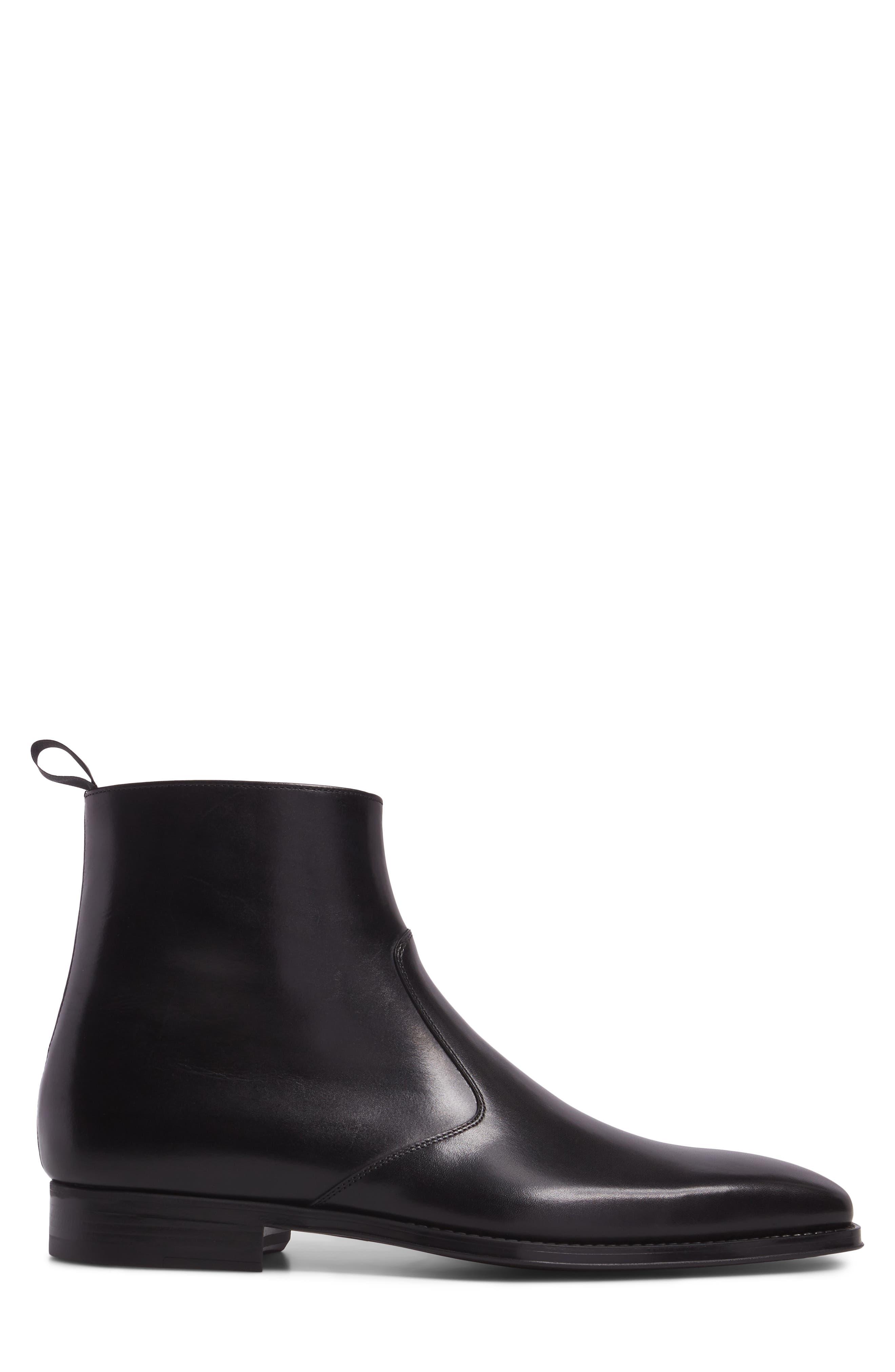 Rosdale Zip Boot,                             Alternate thumbnail 3, color,                             BLACK LEATHER