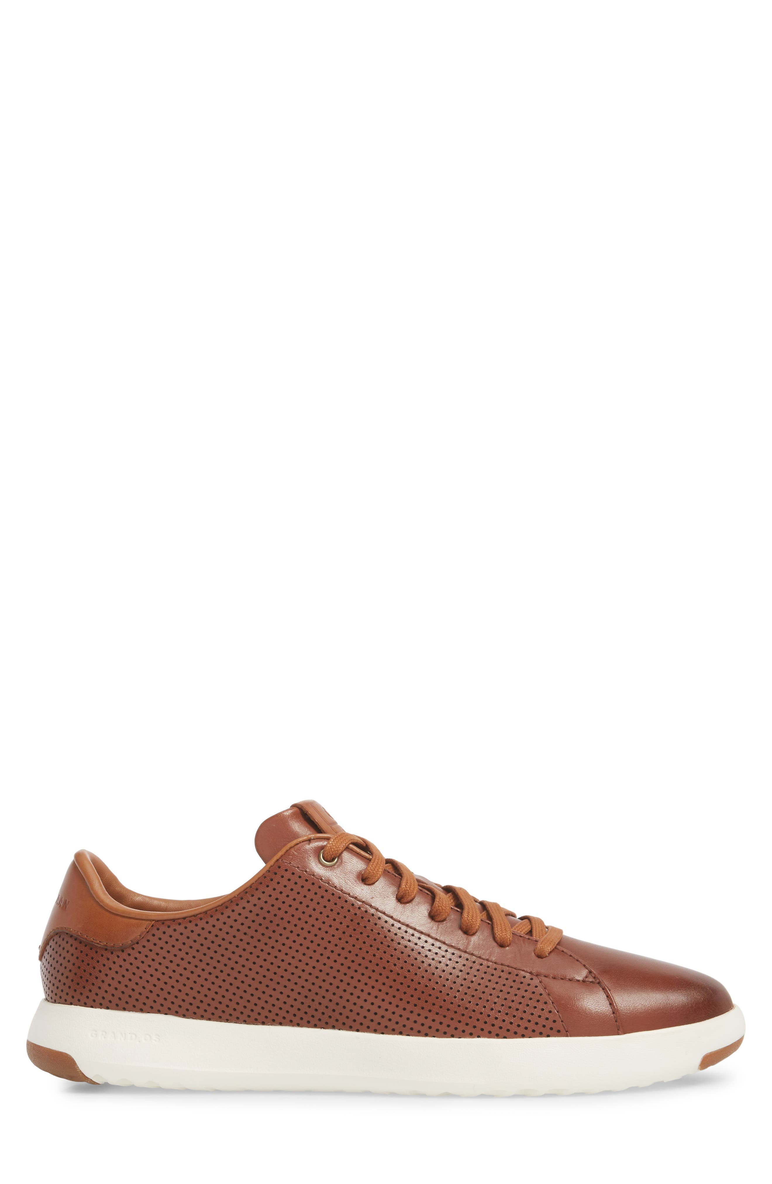 GrandPrø Perforated Low Top Sneaker,                             Alternate thumbnail 3, color,                             WOODBURY LEATHER