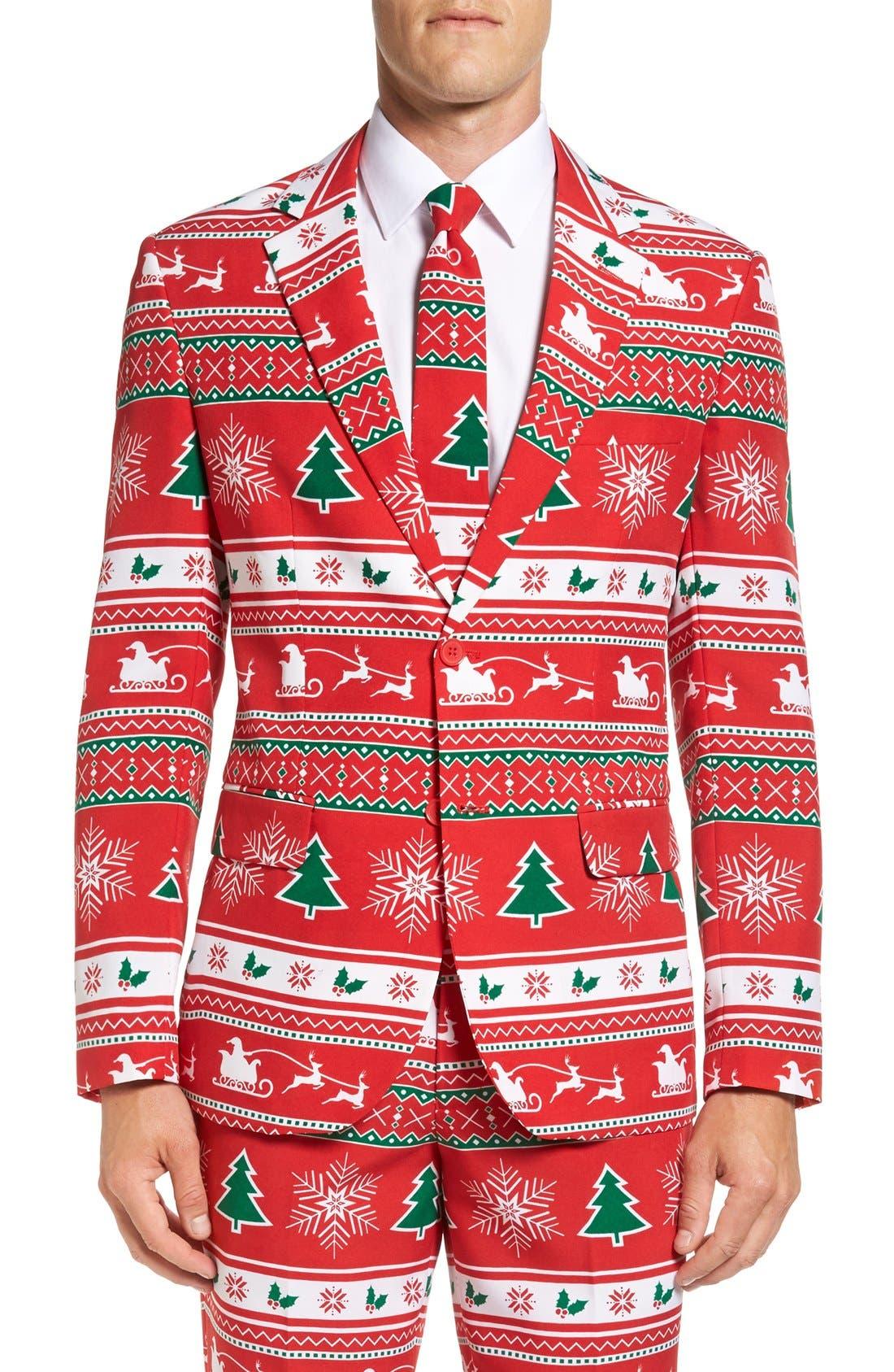 'Winter Wonderland' Trim Fit Two-Piece Suit with Tie,                             Alternate thumbnail 5, color,                             601