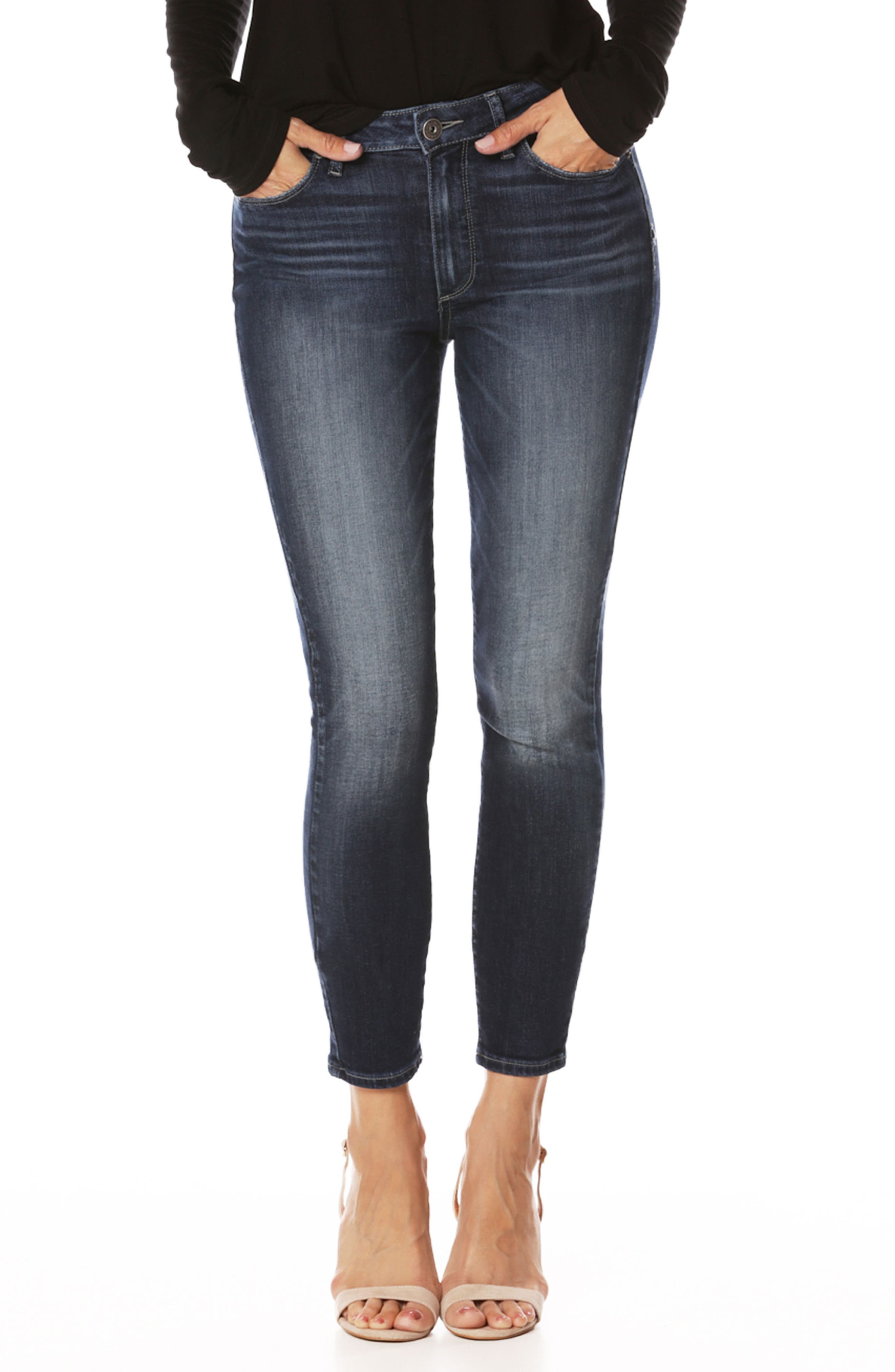 Transcend Vintage - Hoxton High Waist Crop Ultra Skinny Jeans,                             Main thumbnail 1, color,                             400