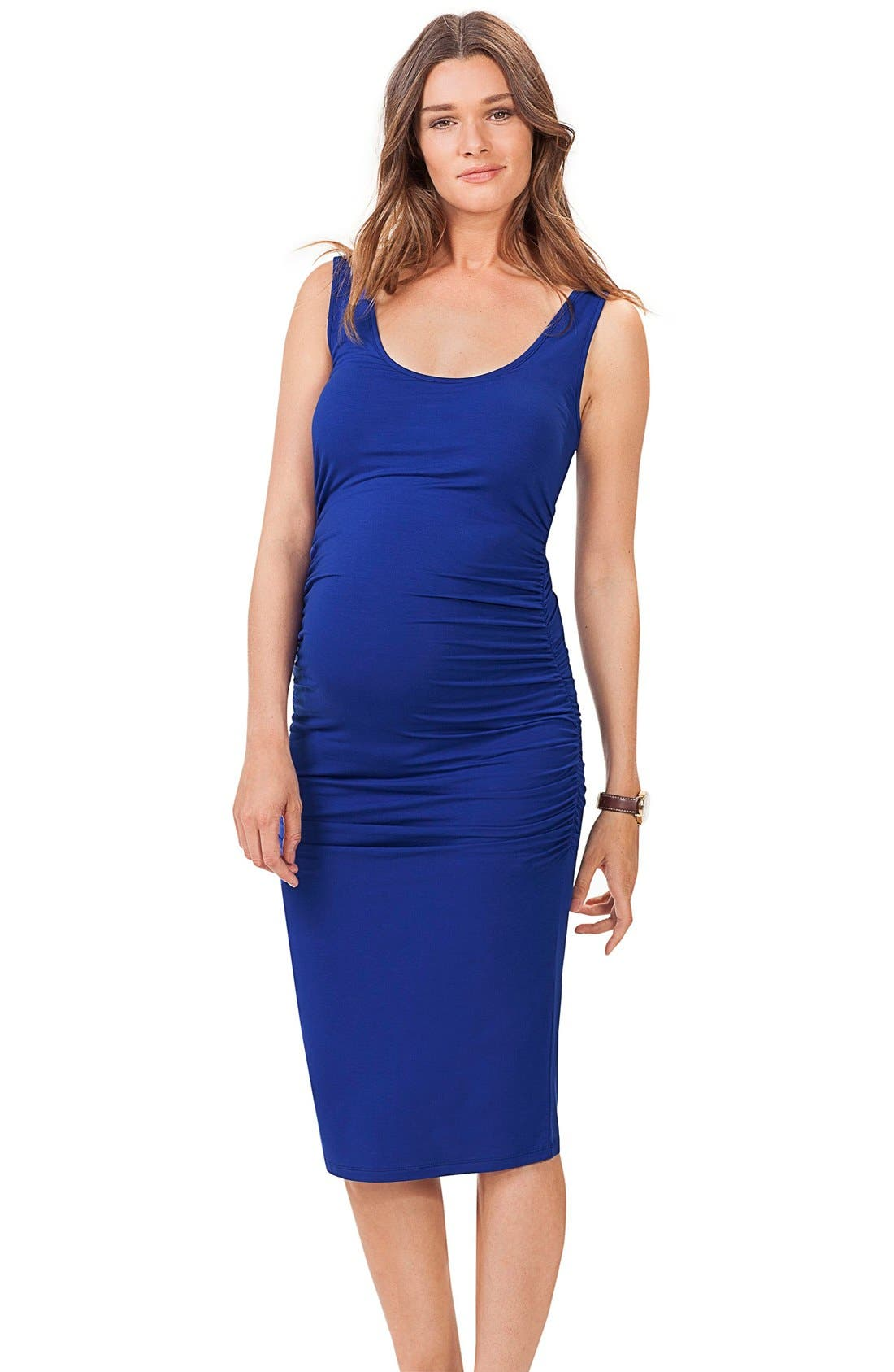 ISABELLA OLIVER,                             'Ellis' Side Ruched Maternity Tank Dress,                             Main thumbnail 1, color,                             PERSIAN BLUEDNU