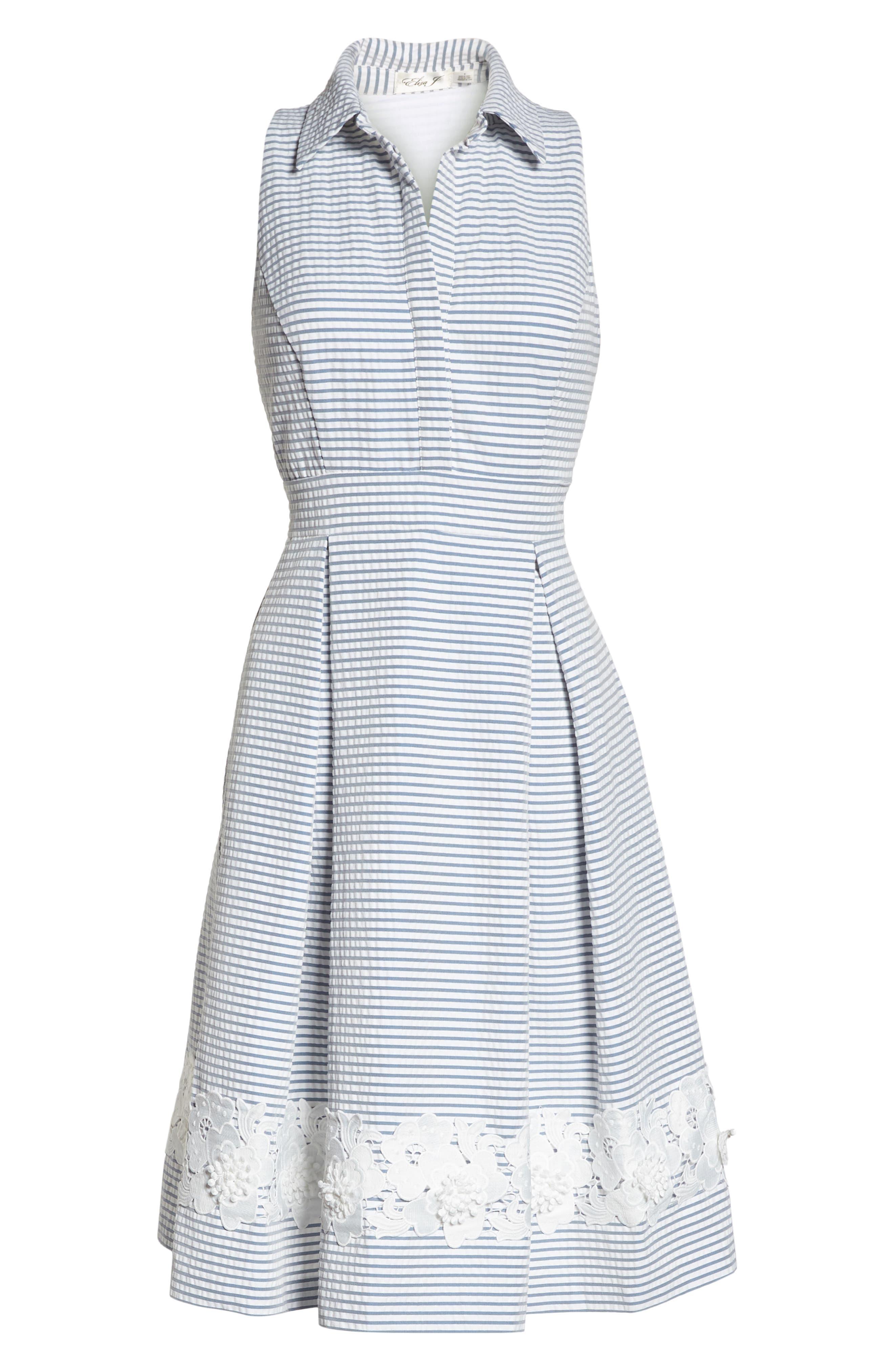 Halter Shirtdress,                             Alternate thumbnail 7, color,                             BLUE/ WHITE