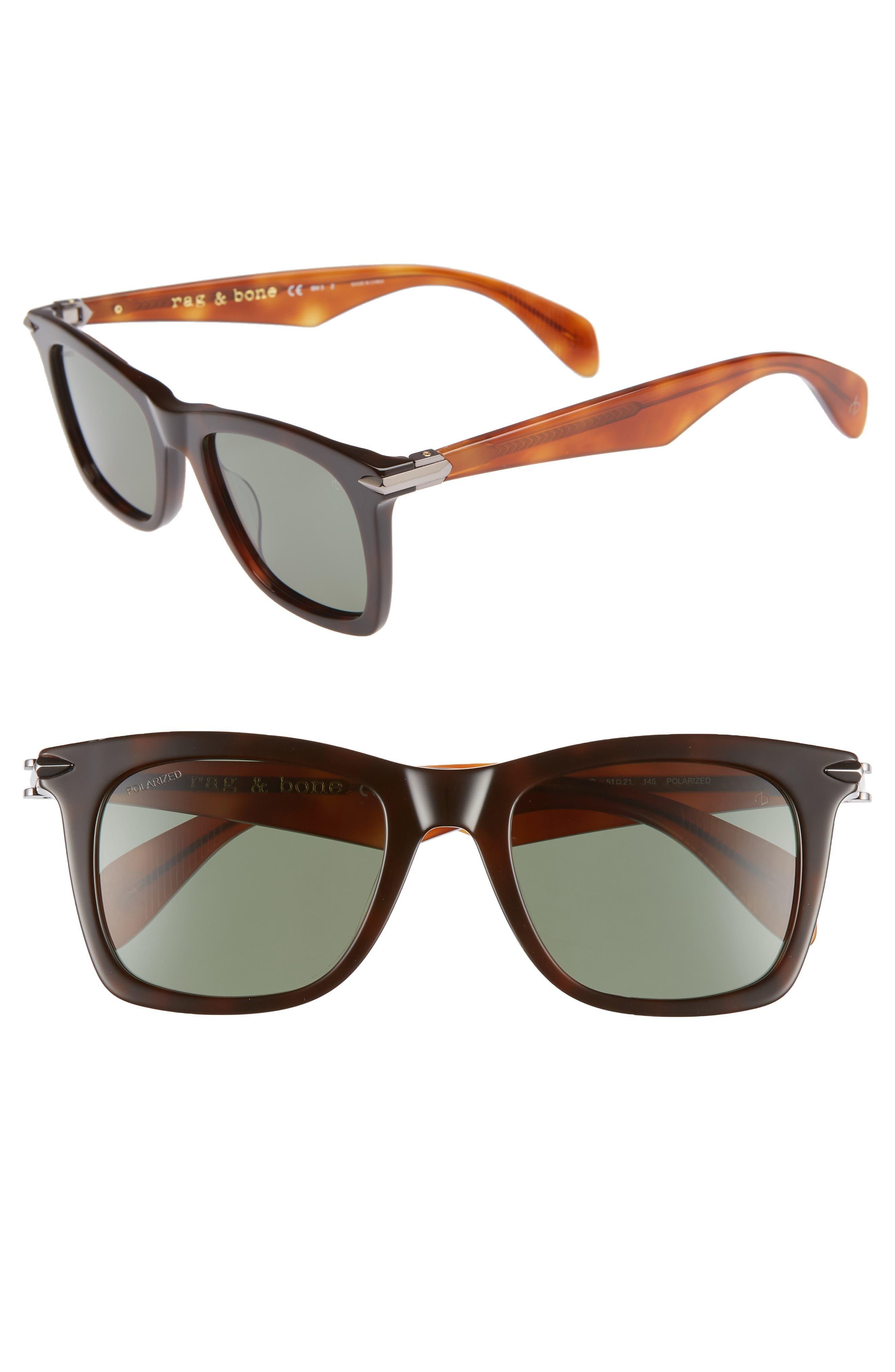 Core 51mm Polarized Sunglasses,                         Main,                         color, DARK/ HAVANA