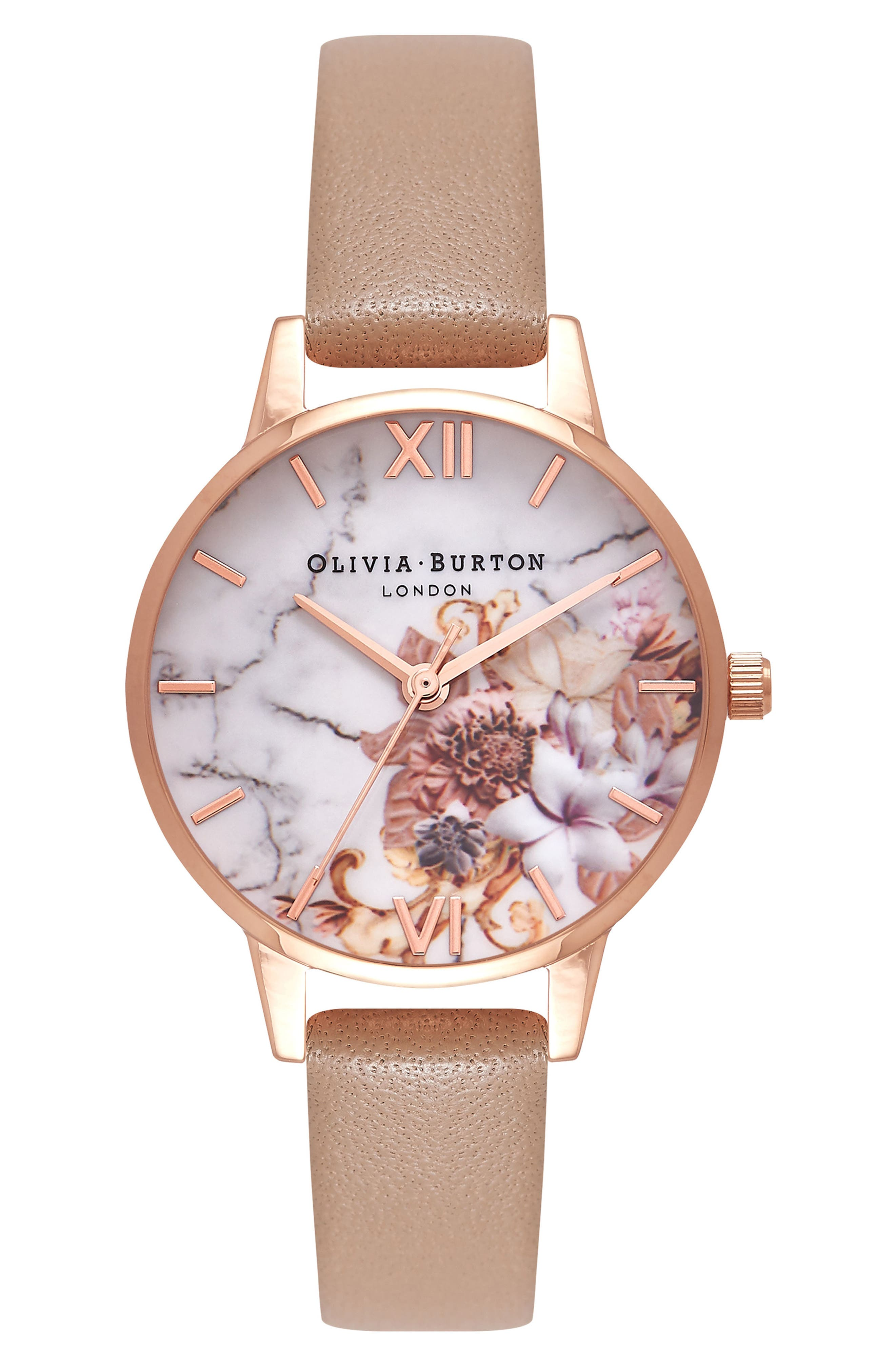 Marble Floral Leather Strap Watch, 30mm,                         Main,                         color, SAND/ FLORAL/ ROSE GOLD