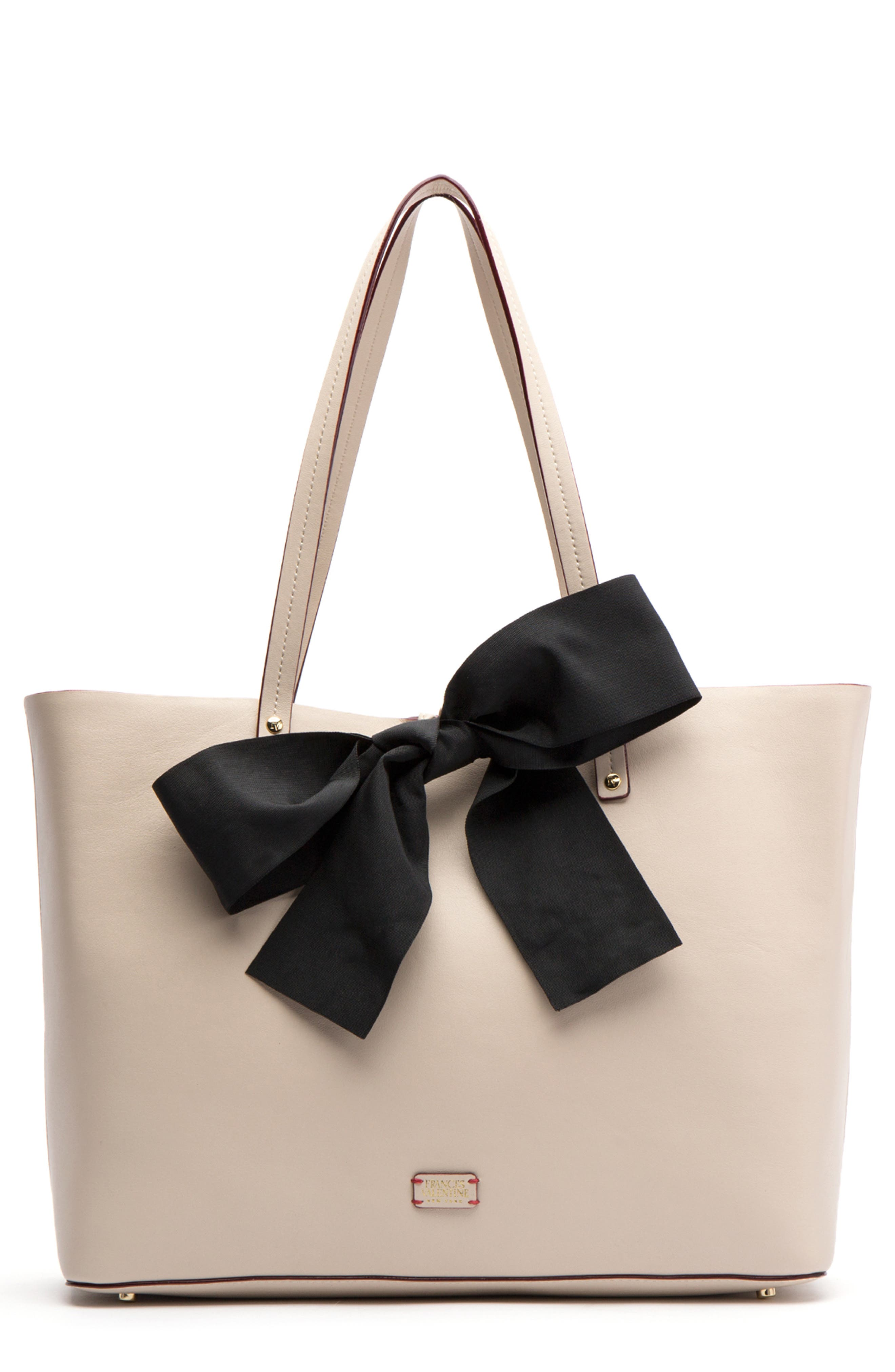 FRANCES VALENTINE Trixie Leather Tote in Oyster/ Black