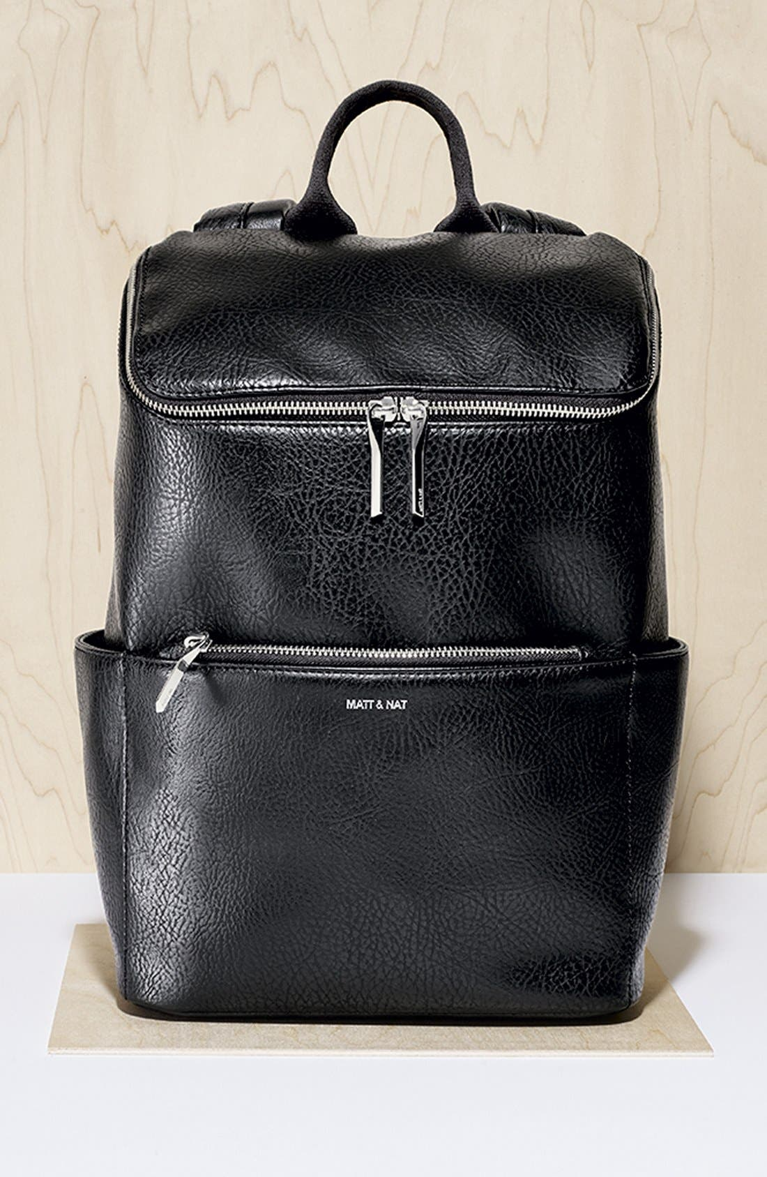 'Brave' Faux Leather Backpack,                             Main thumbnail 3, color,
