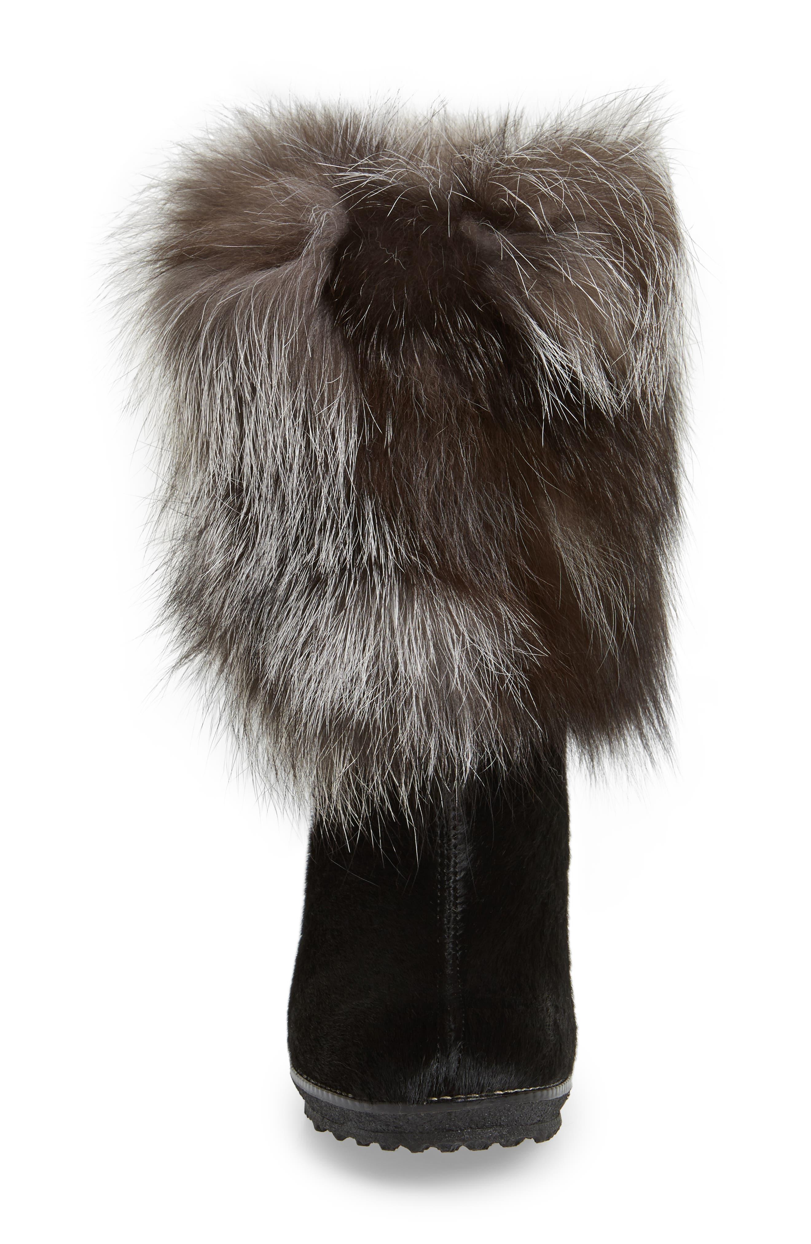 Angelina Genuine Fox Fur Wedge Boot,                             Alternate thumbnail 4, color,                             001