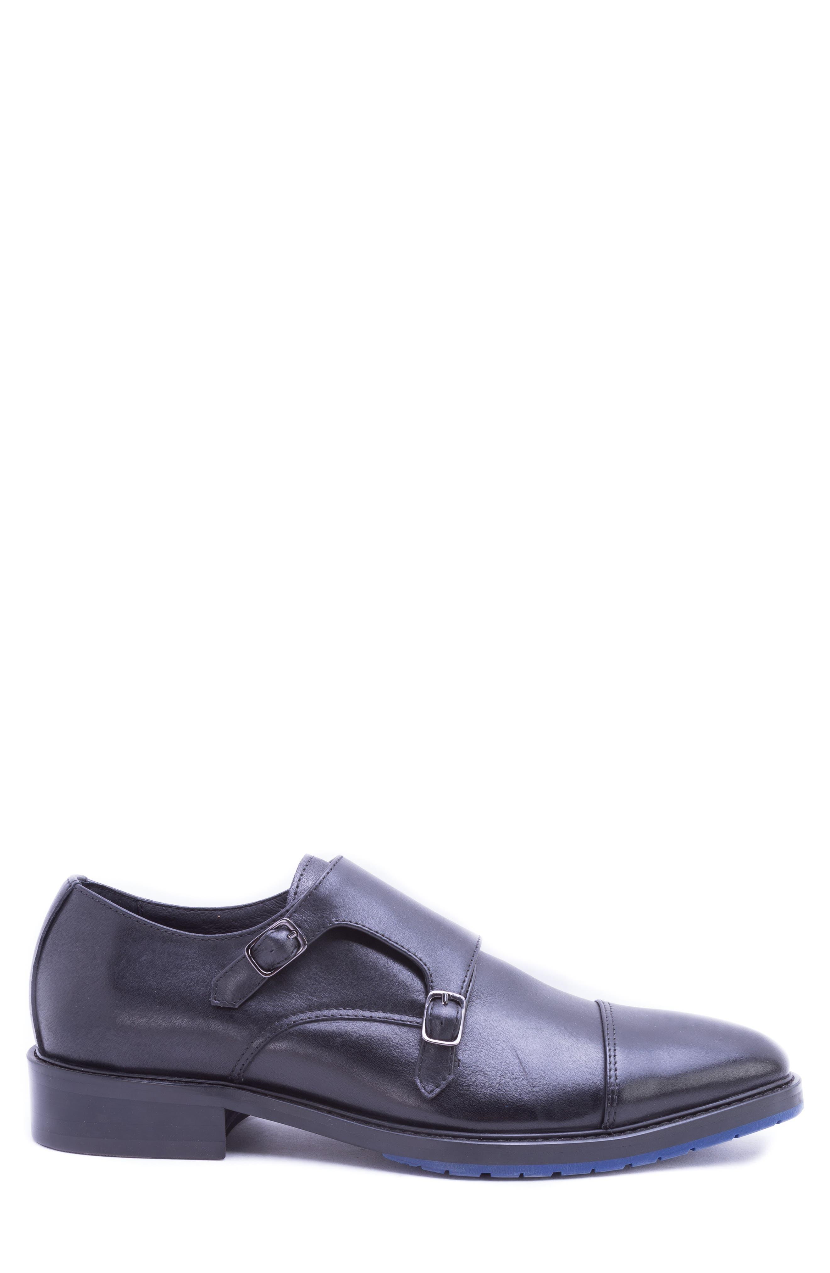 Catlett Double Monk Strap Shoe,                             Alternate thumbnail 3, color,                             BLACK LEATHER