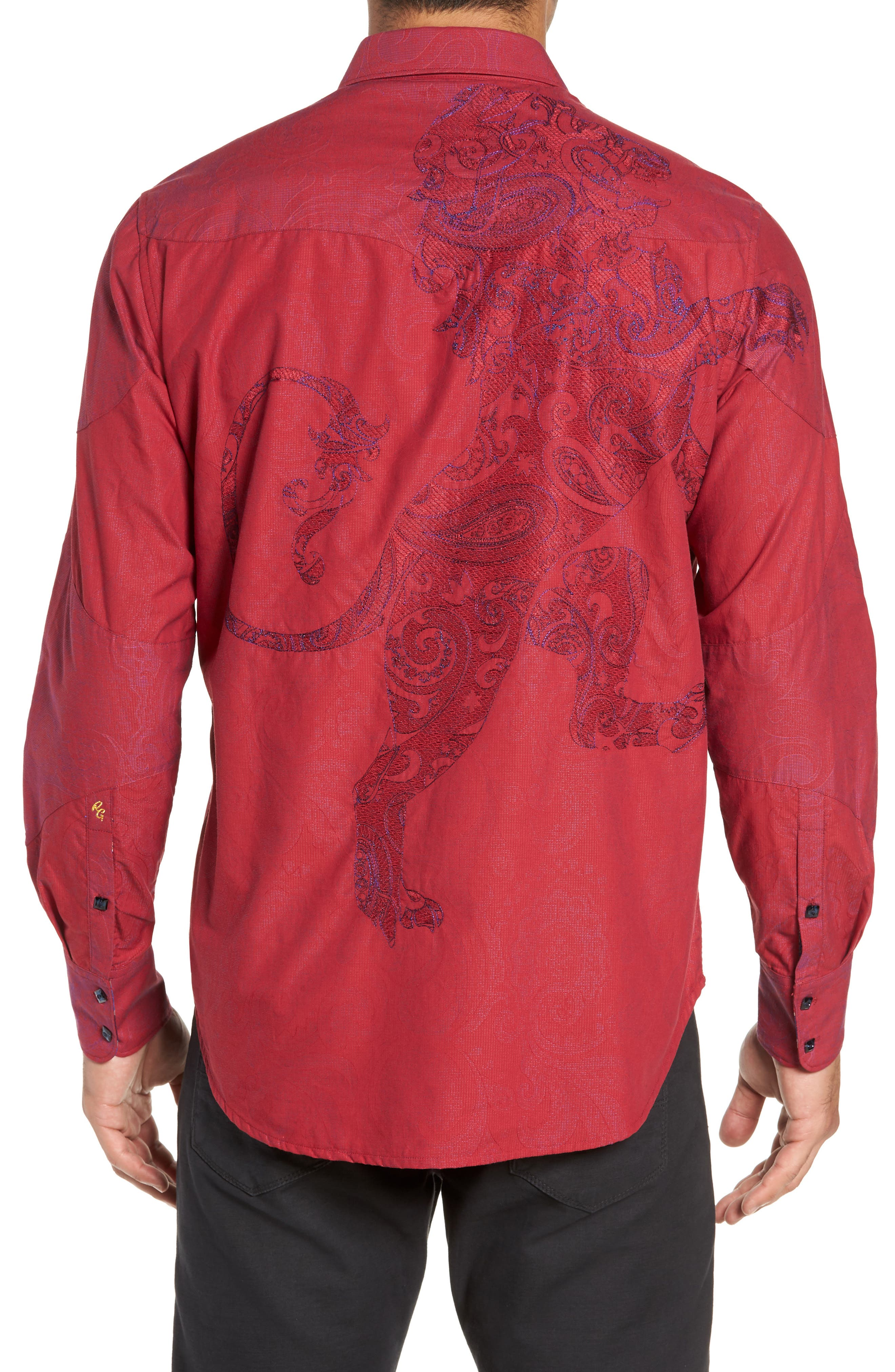 Lyons Hearted Limited Edition Classic Fit Sport Shirt,                             Alternate thumbnail 3, color,                             RED