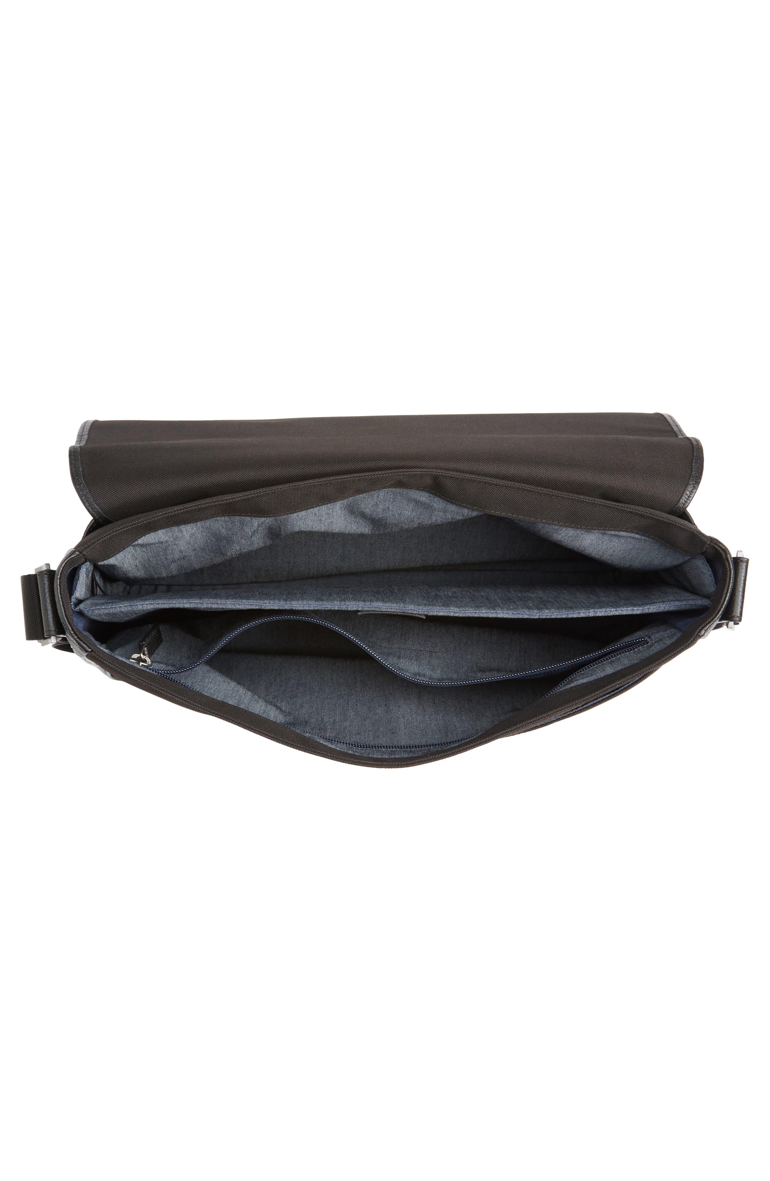 Midland Leather Messenger Bag,                             Alternate thumbnail 4, color,                             001