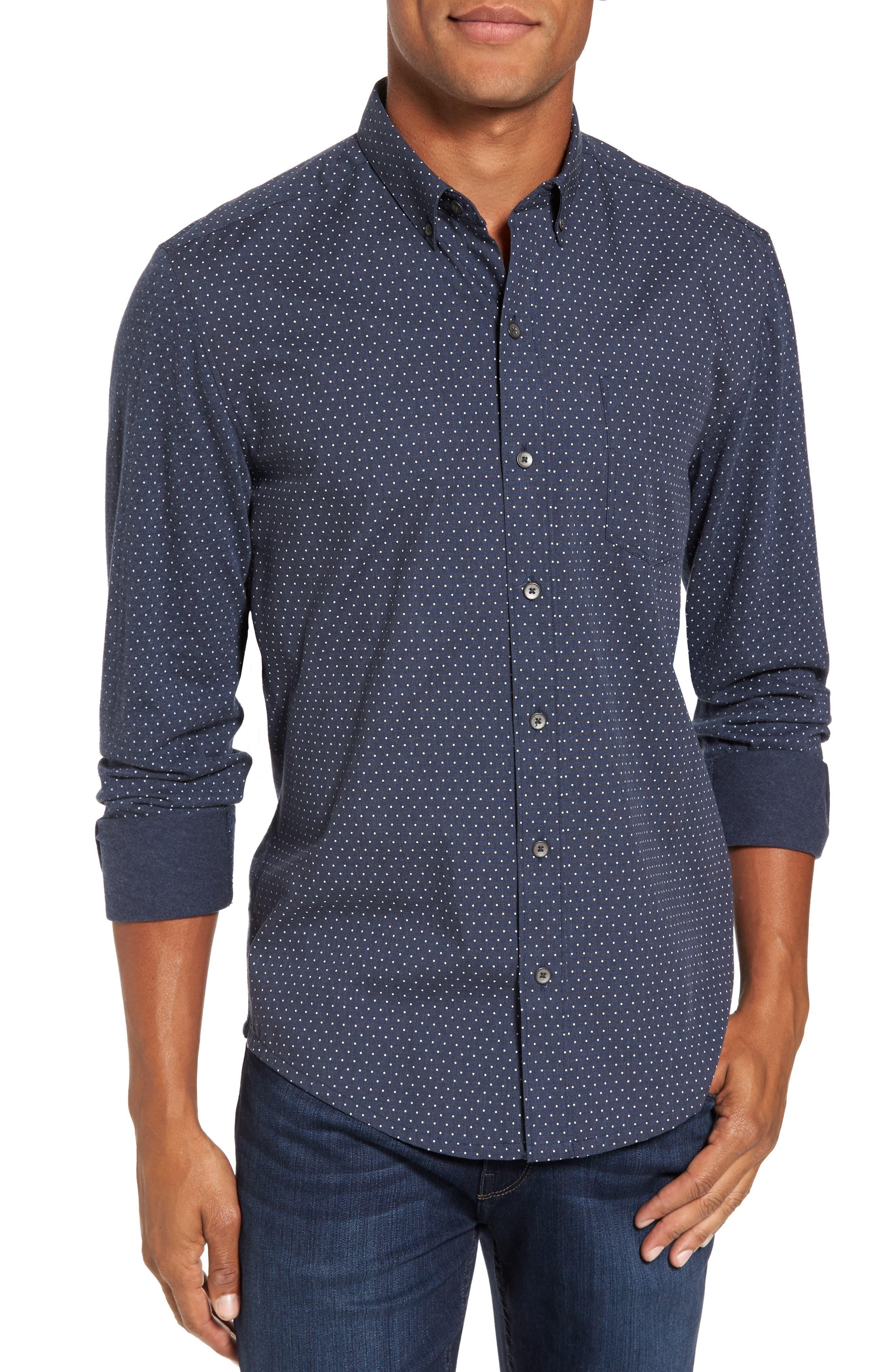'Reworkd' Trim Fit Dot Print Mixed Media Sport Shirt,                             Main thumbnail 2, color,