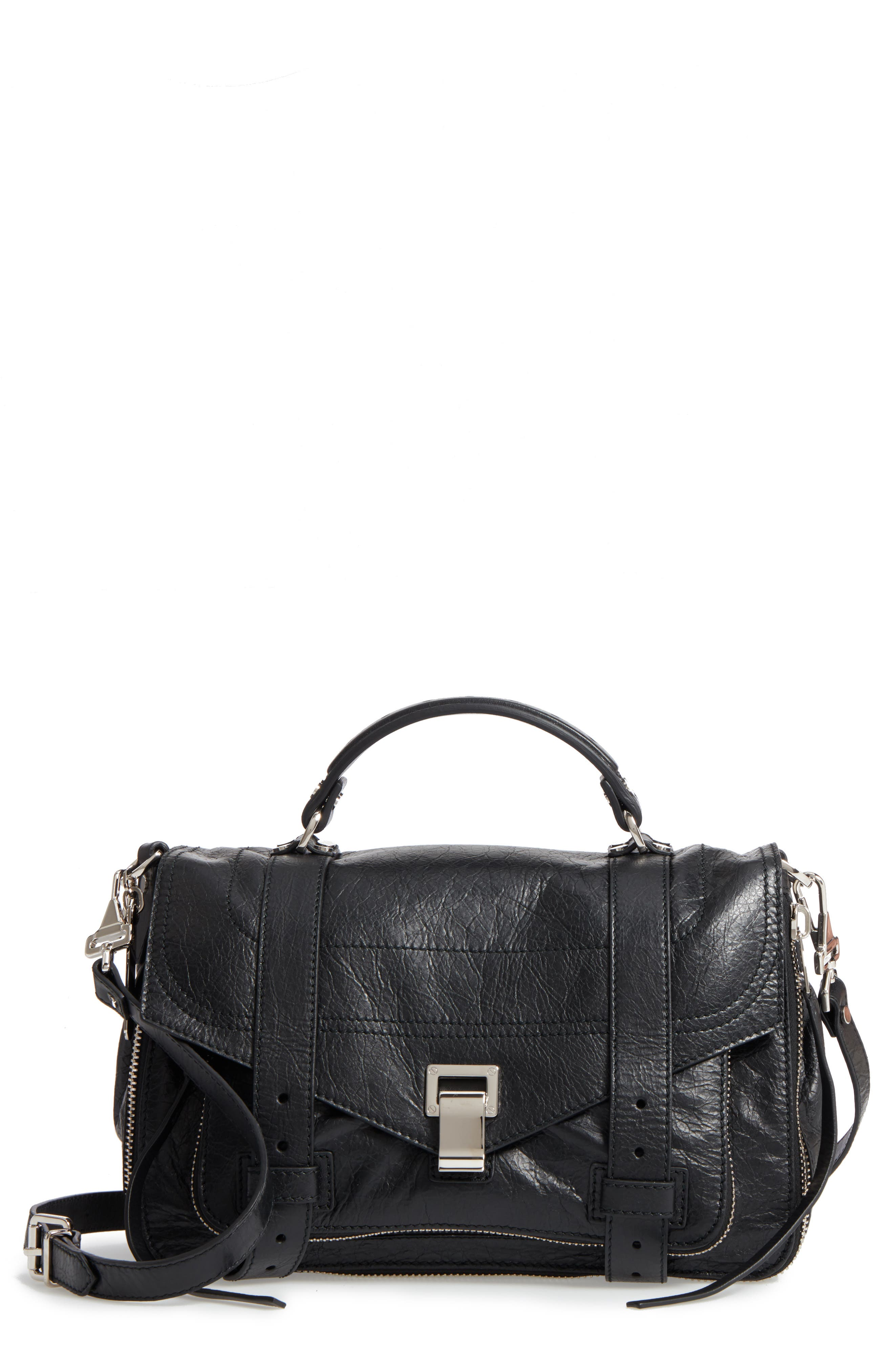 Medium PS1 Paper Leather Satchel,                         Main,                         color, BLACK