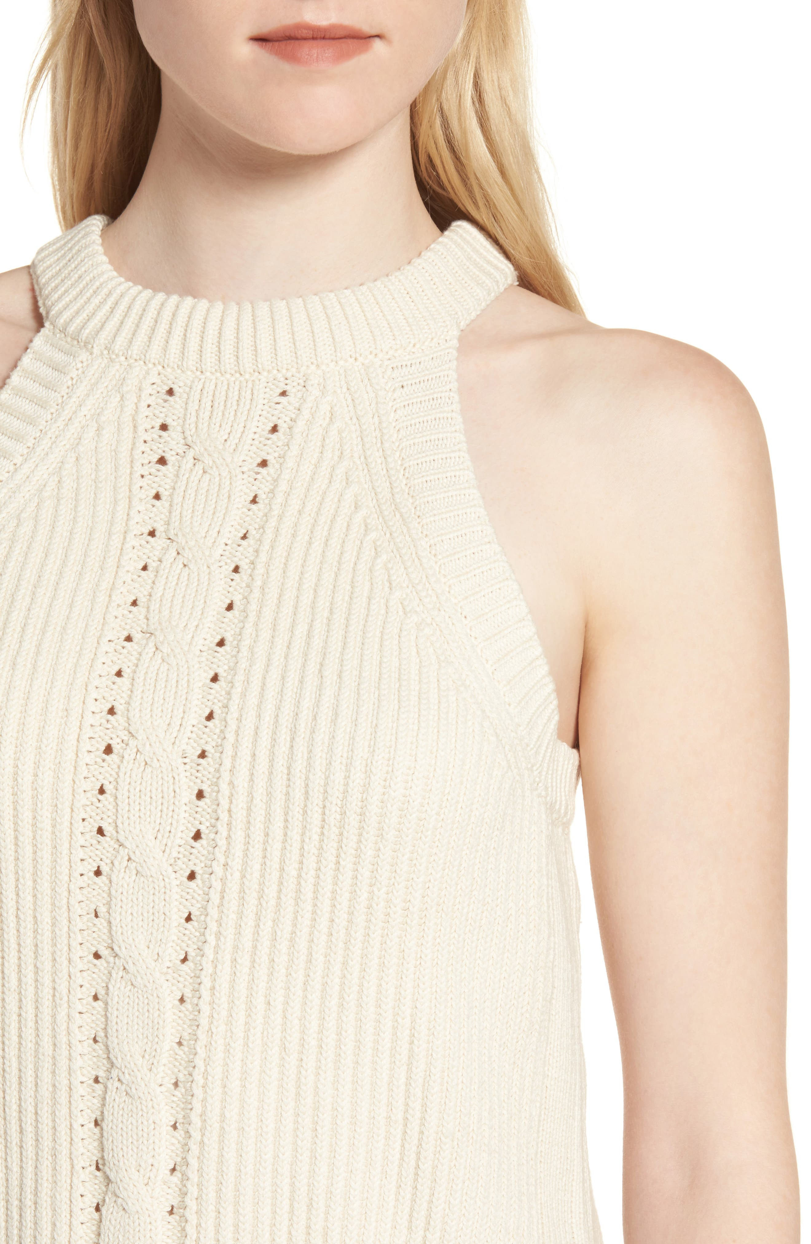 Sleeveless Cable Sweater,                             Alternate thumbnail 4, color,