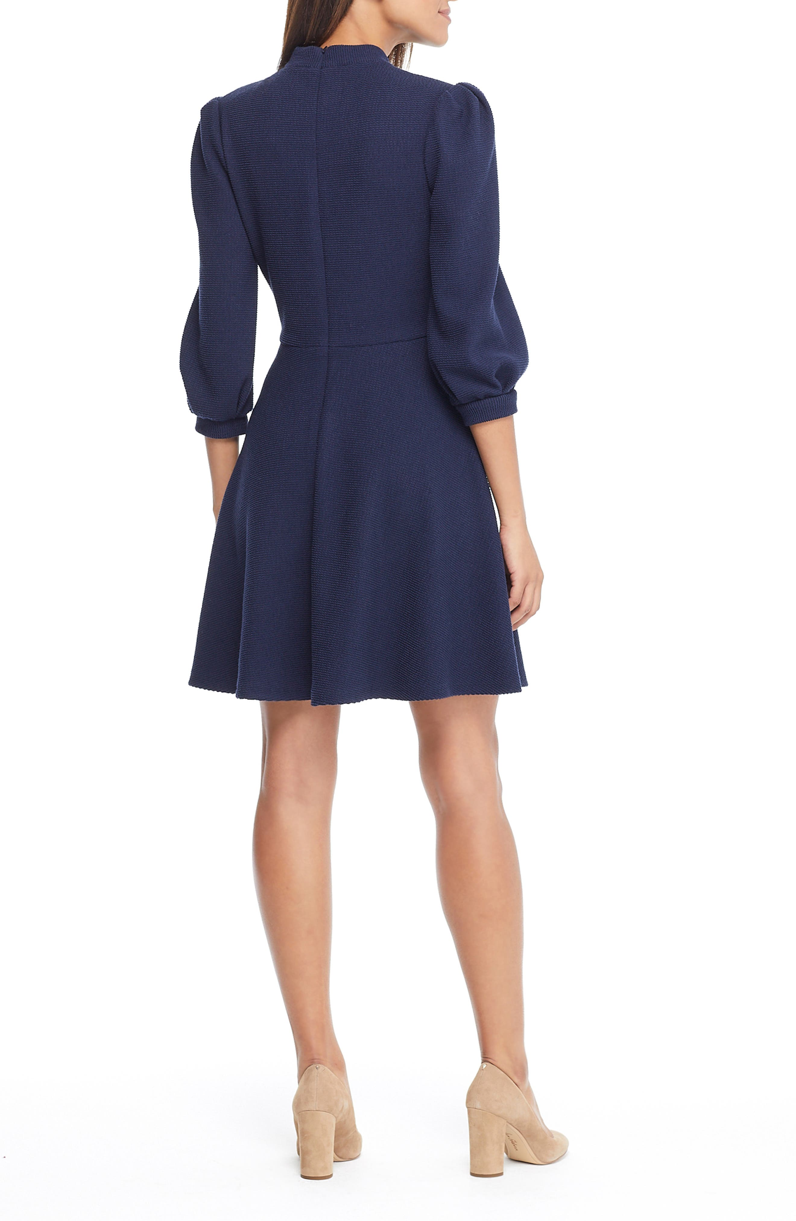 Maggie Texture Knit Fit & Flare Dress,                             Alternate thumbnail 2, color,                             NAVY