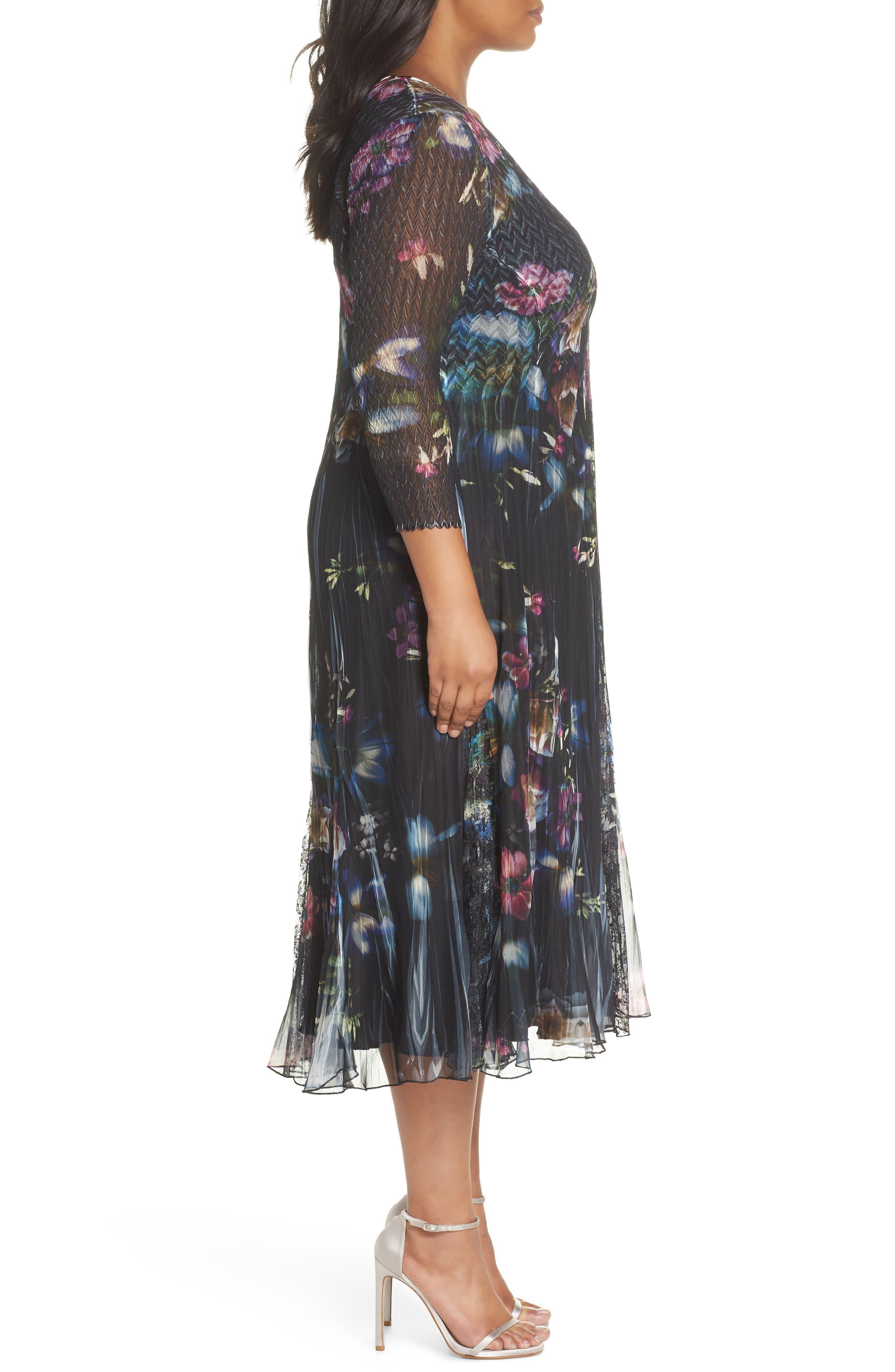 Lace Trim Floral Midi Dress,                             Alternate thumbnail 3, color,                             001